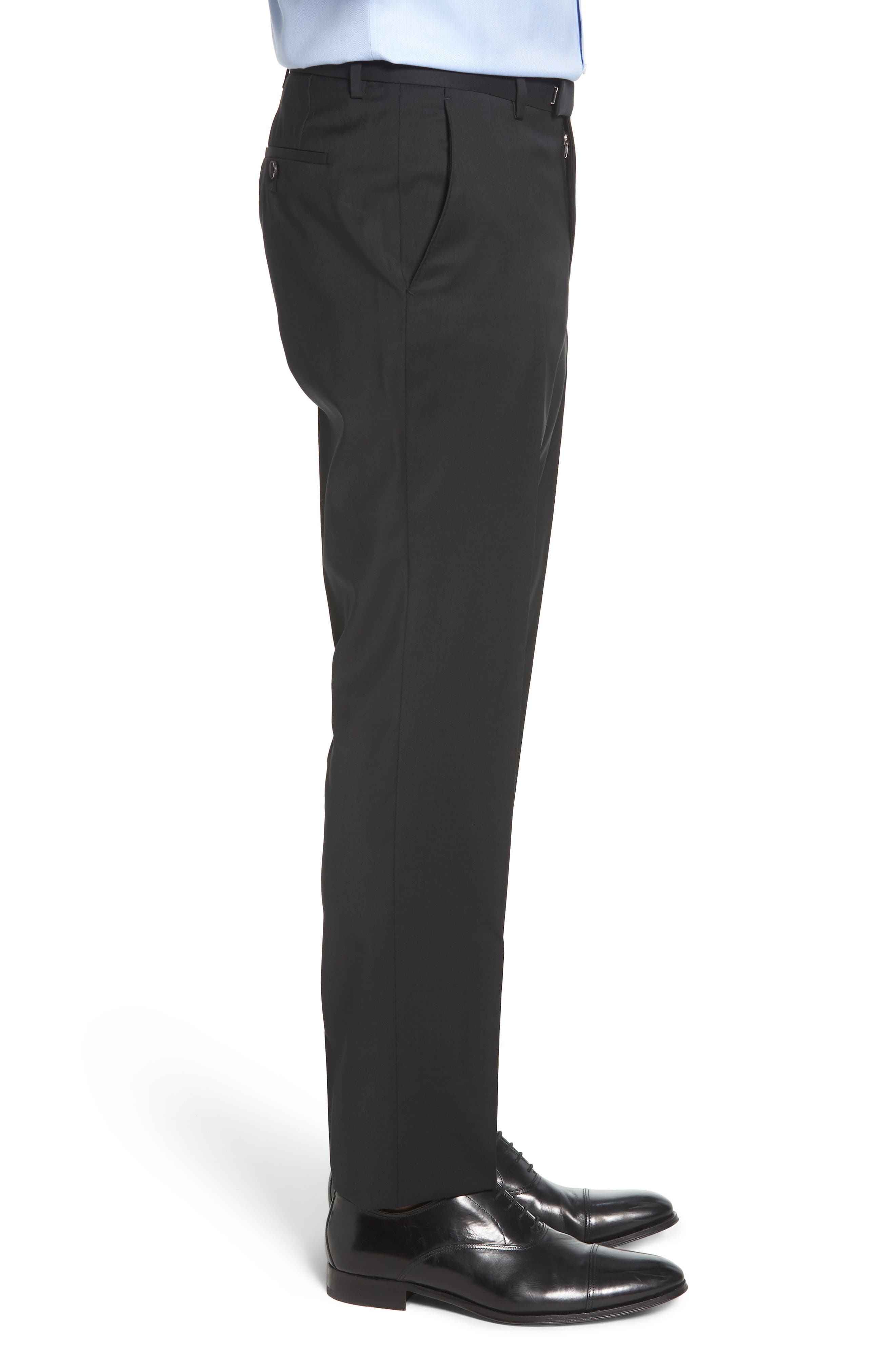 Leenon Flat Front Regular Fit Solid Wool Trousers,                             Alternate thumbnail 3, color,                             BLACK