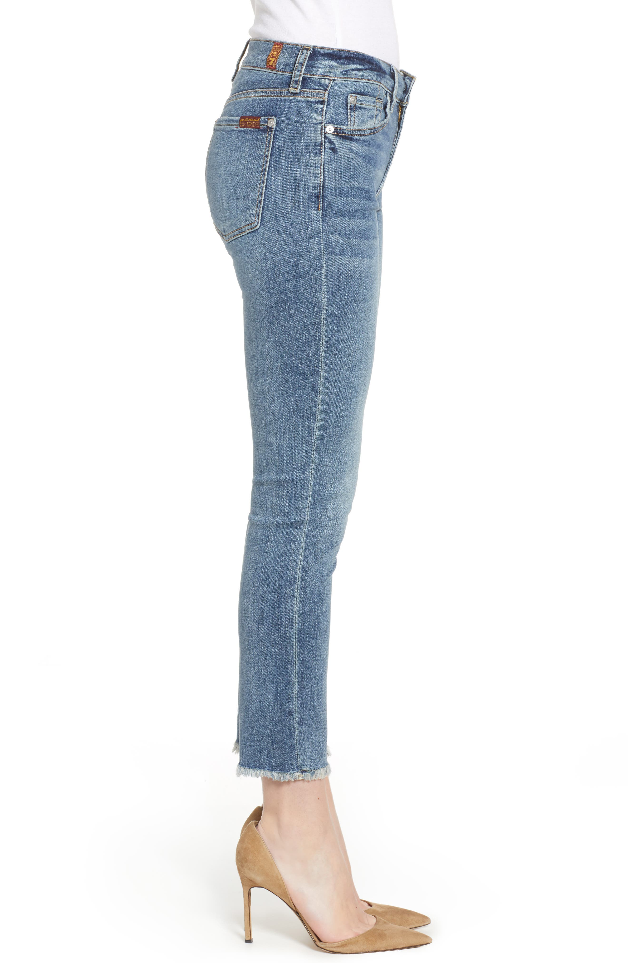 7 FOR ALL MANKIND<SUP>®</SUP>,                             b(air) Roxanne Frayed Ankle Slim Jeans,                             Alternate thumbnail 3, color,                             402
