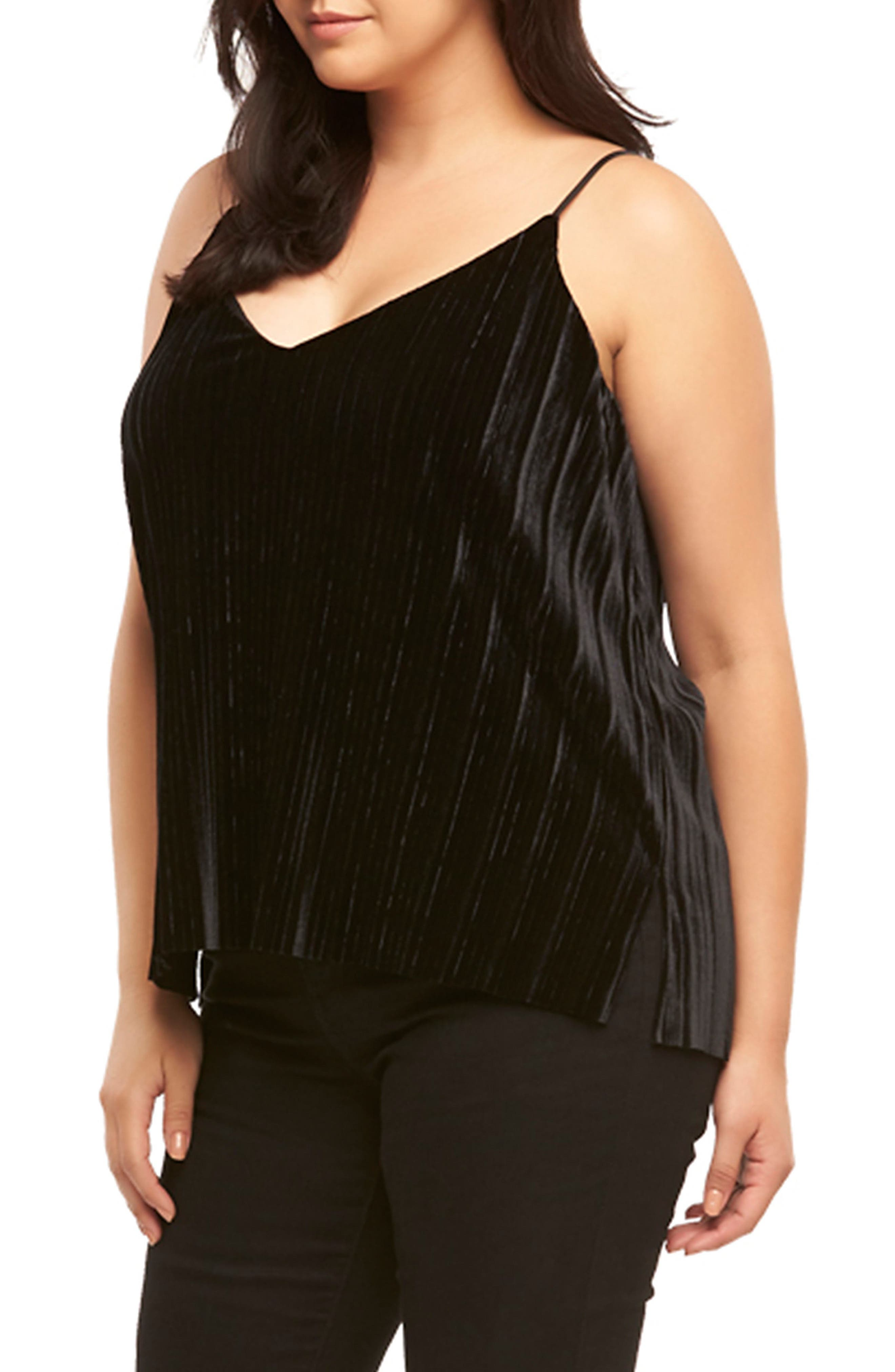 Maren Pleat Velvet Camisole,                             Alternate thumbnail 3, color,                             BLACK