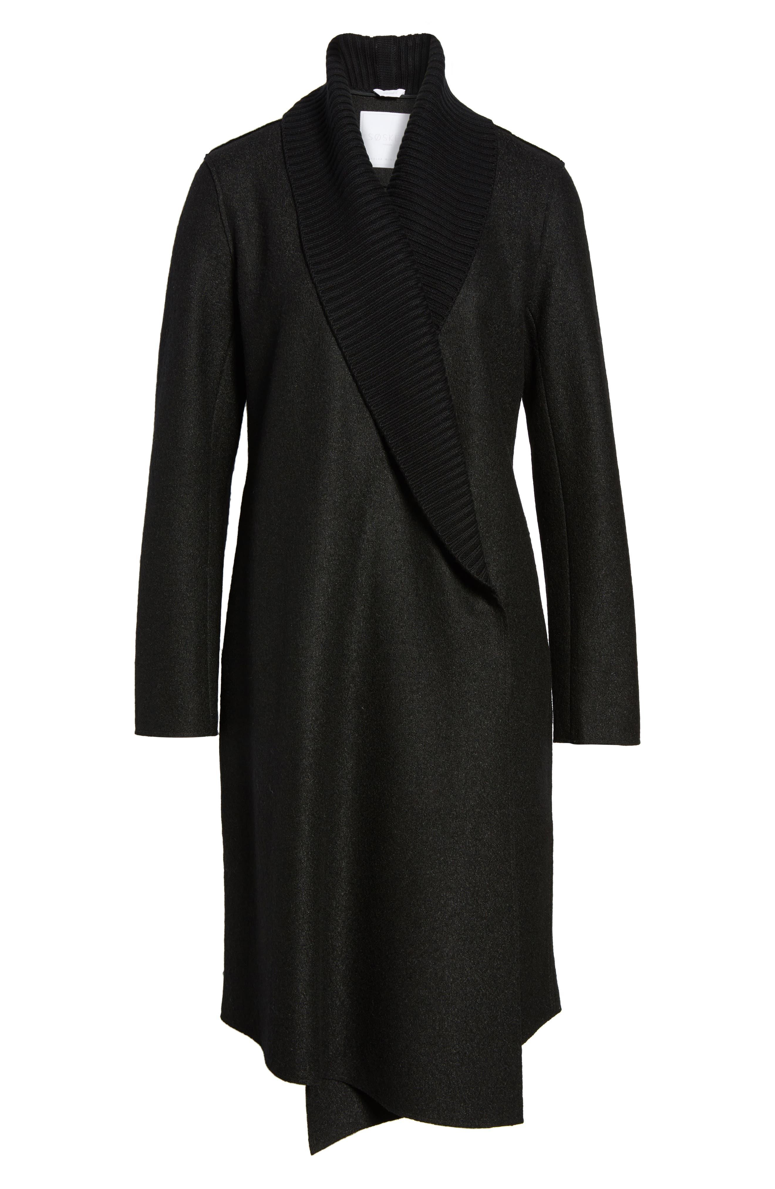 Emily Boiled Wool Blend Duster Coat,                             Alternate thumbnail 5, color,                             001