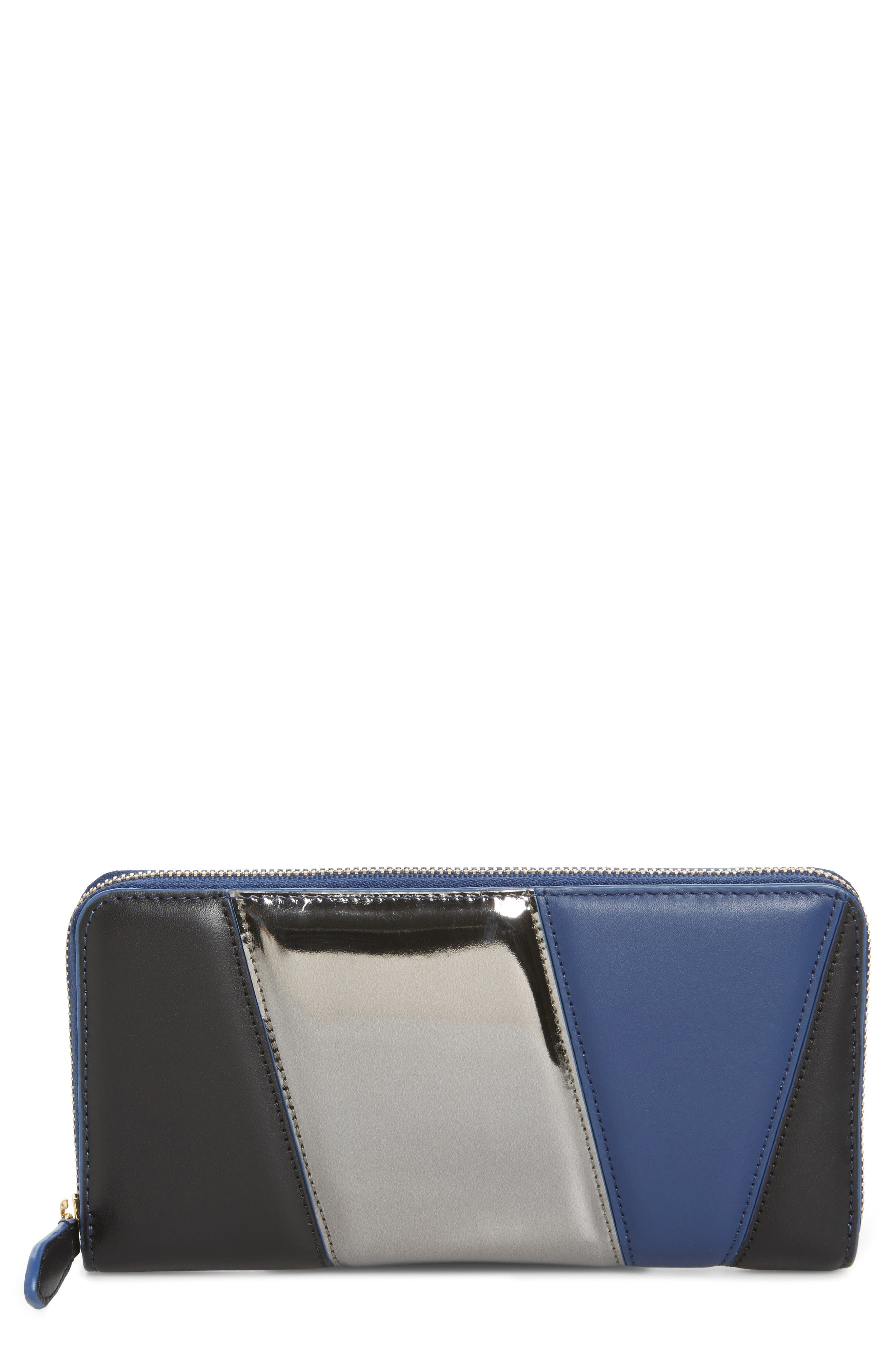 Colorblock Leather Continental Wallet,                             Main thumbnail 1, color,                             400