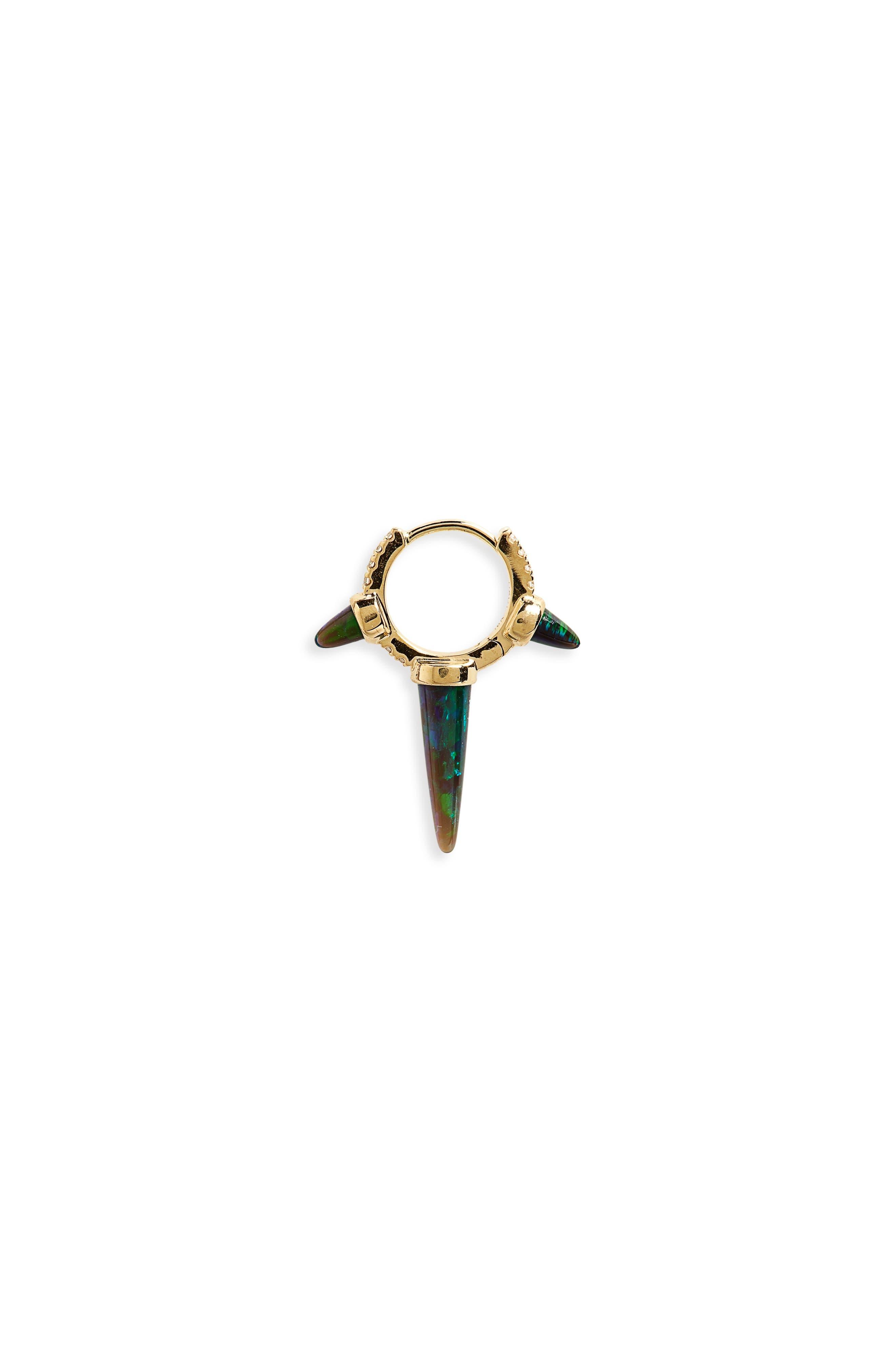 Black Opal & Diamond Triple Spike Eternity Earring,                             Main thumbnail 1, color,                             YELLOW GOLD