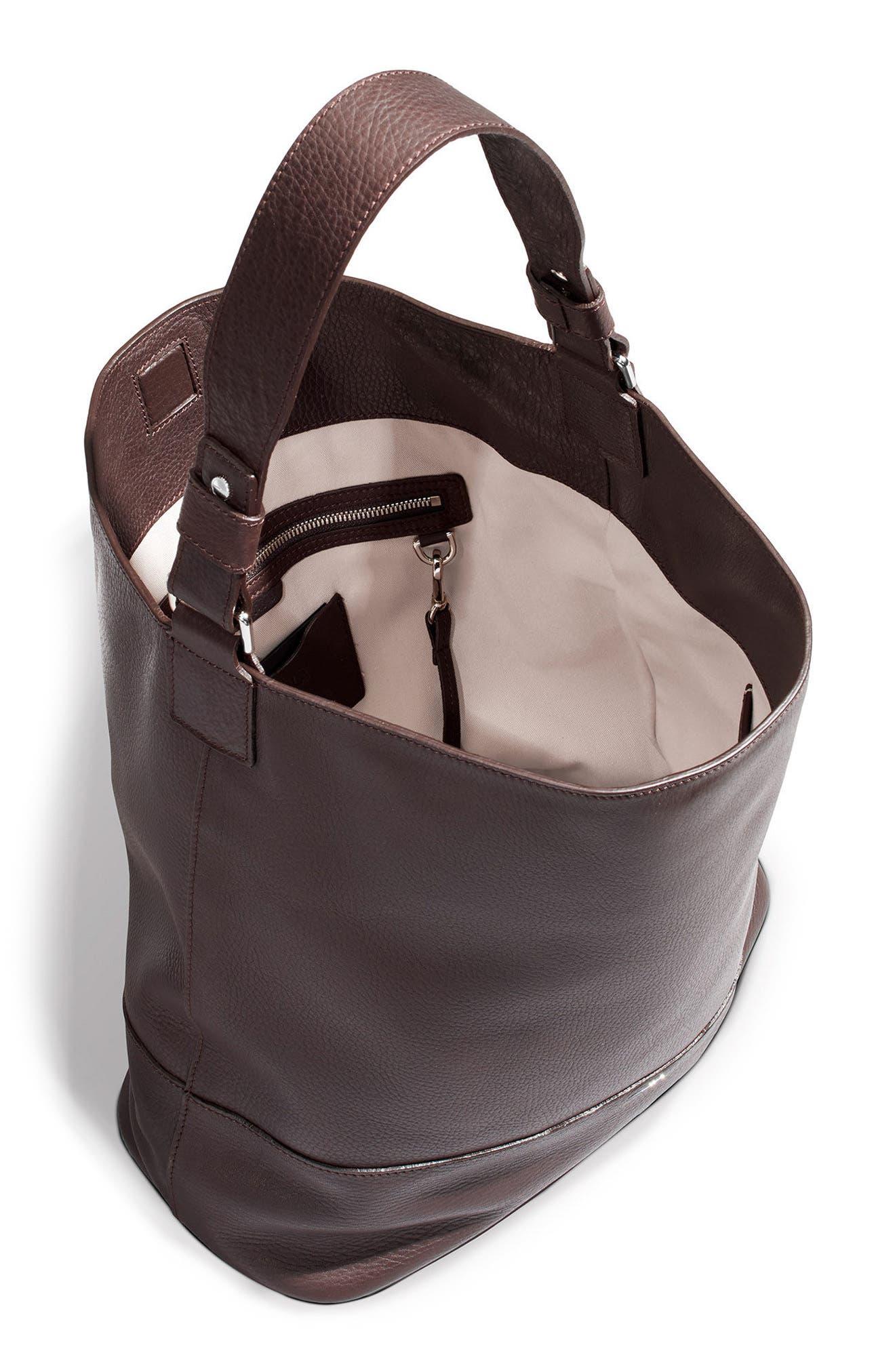Relaxed Calfskin Leather Hobo Bag,                             Alternate thumbnail 7, color,                             240
