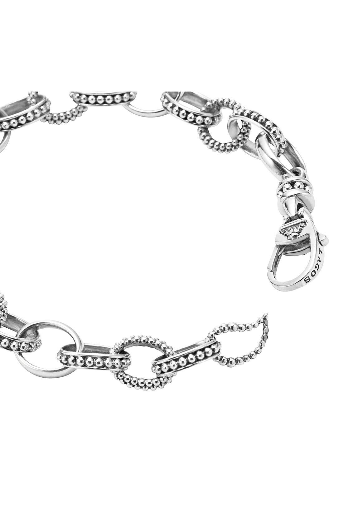 LAGOS,                             'Link' Caviar Chain Bracelet,                             Alternate thumbnail 3, color,                             SILVER