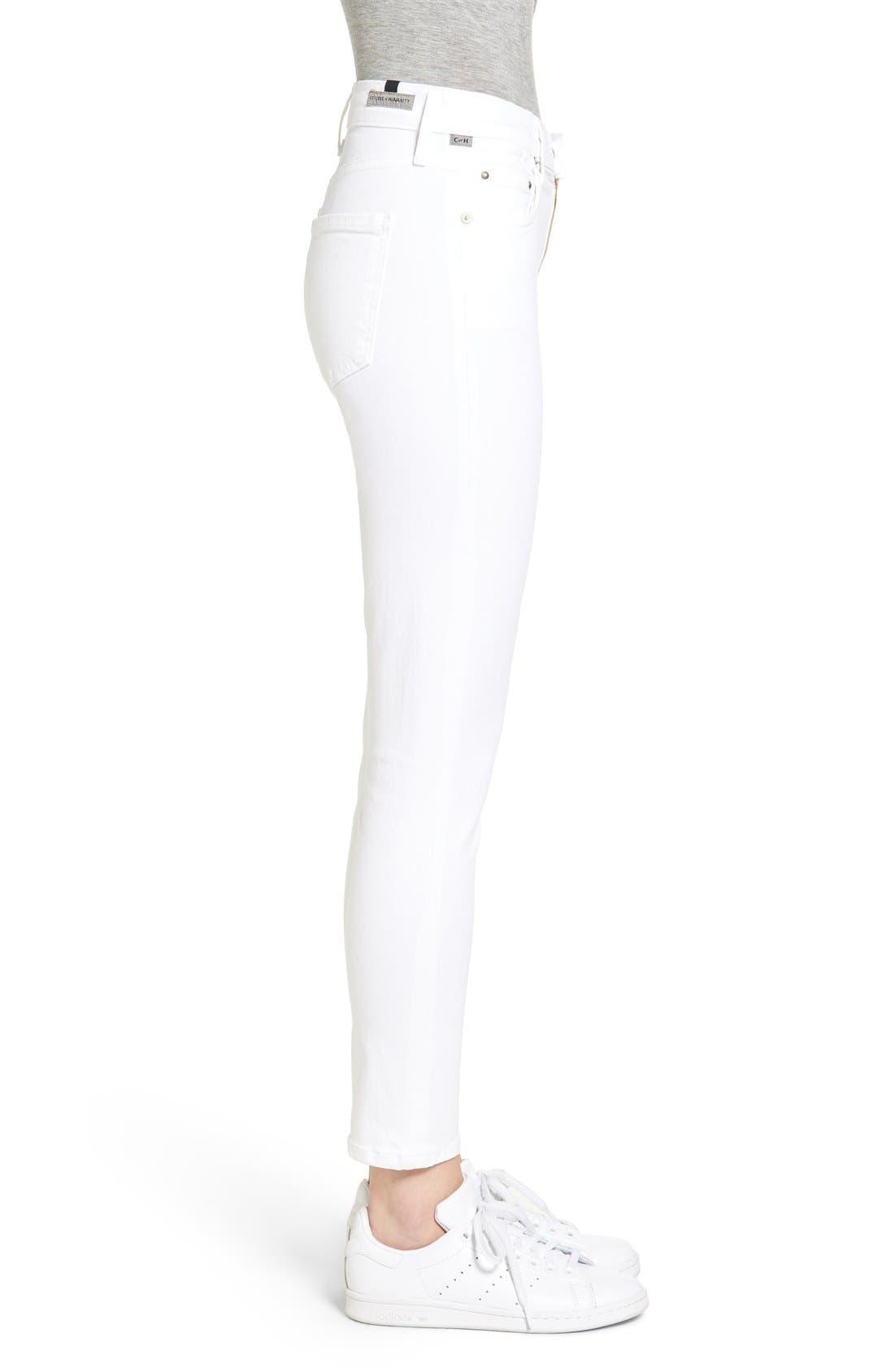 Rocket High Waist Crop Skinny Jeans,                             Alternate thumbnail 3, color,                             SCULPT WHITE