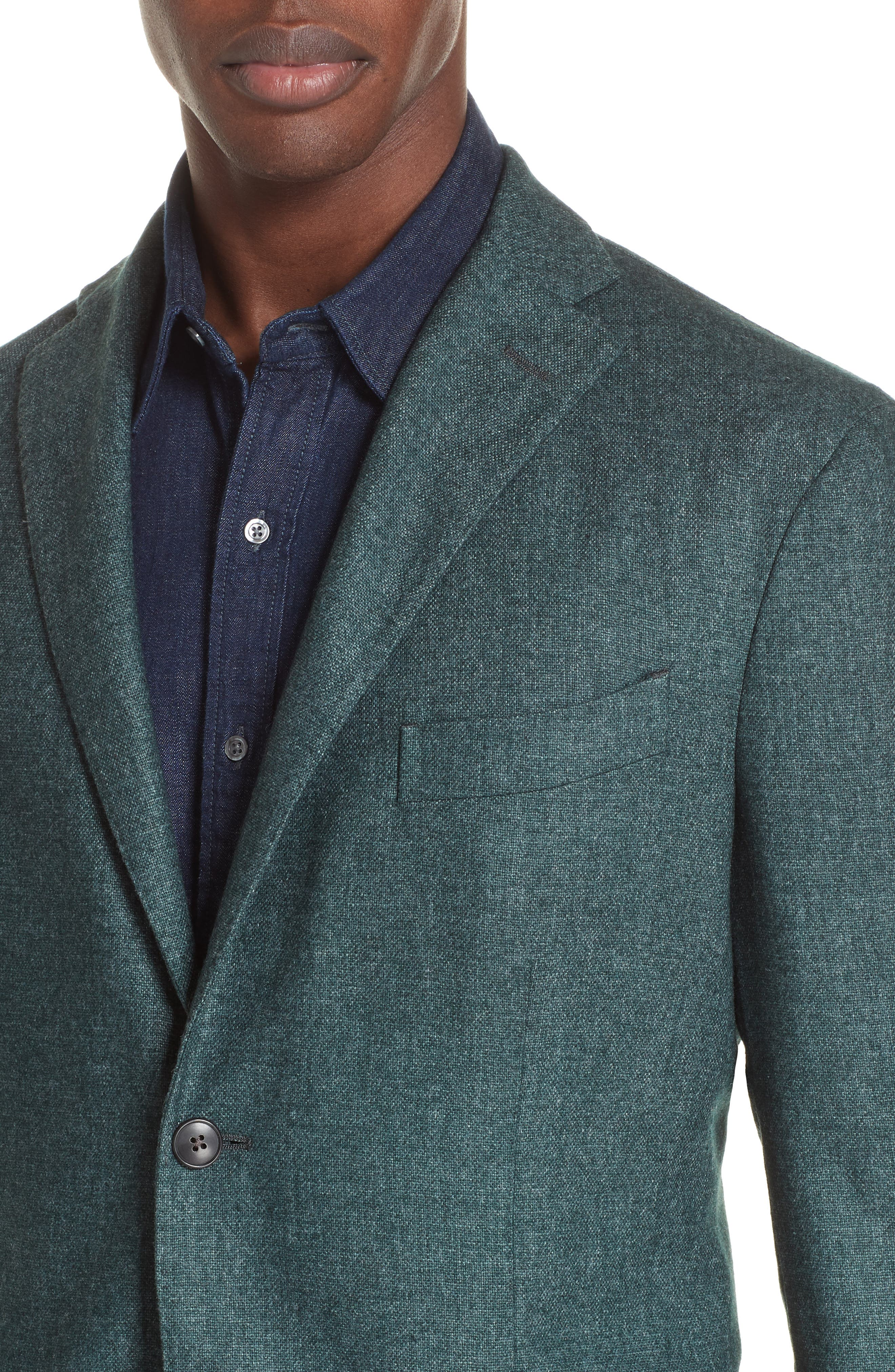 Trim Fit Cashmere Blend Blazer,                             Alternate thumbnail 4, color,                             GREEN