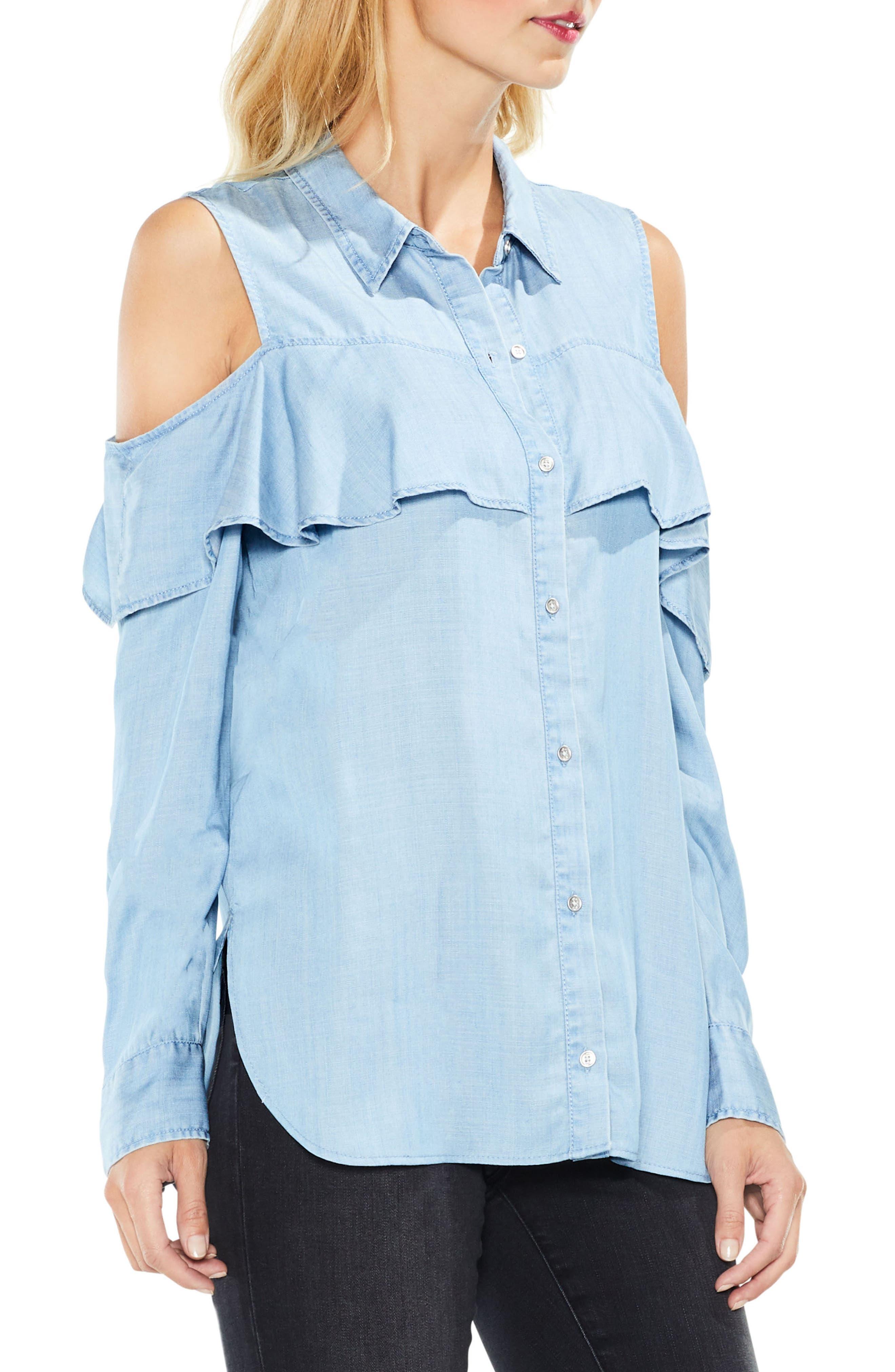 Cold Shoulder Ruffled Chambray Shirt,                             Alternate thumbnail 3, color,                             410