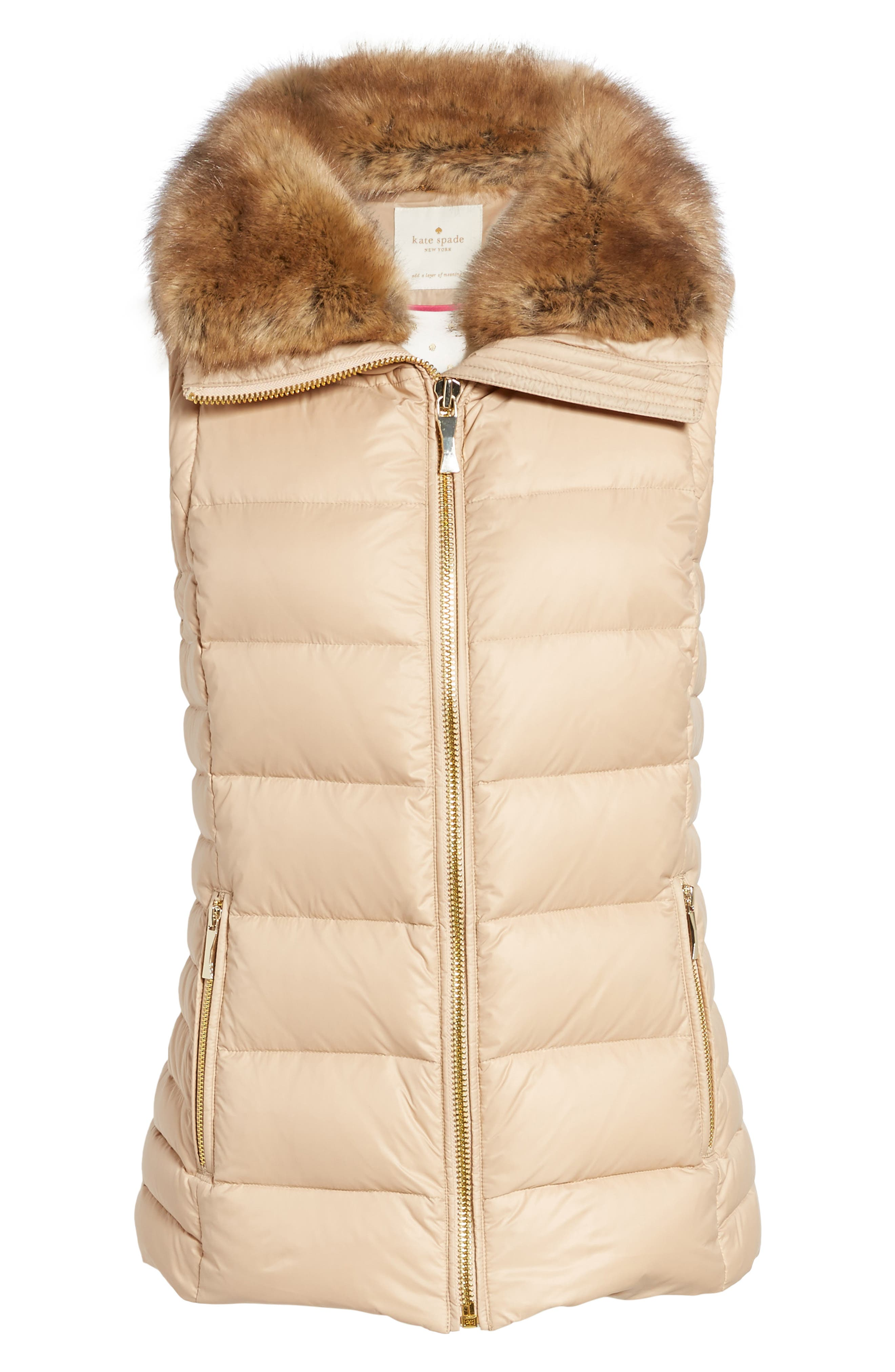 quilted puffer down vest with faux fur trim,                             Alternate thumbnail 4, color,