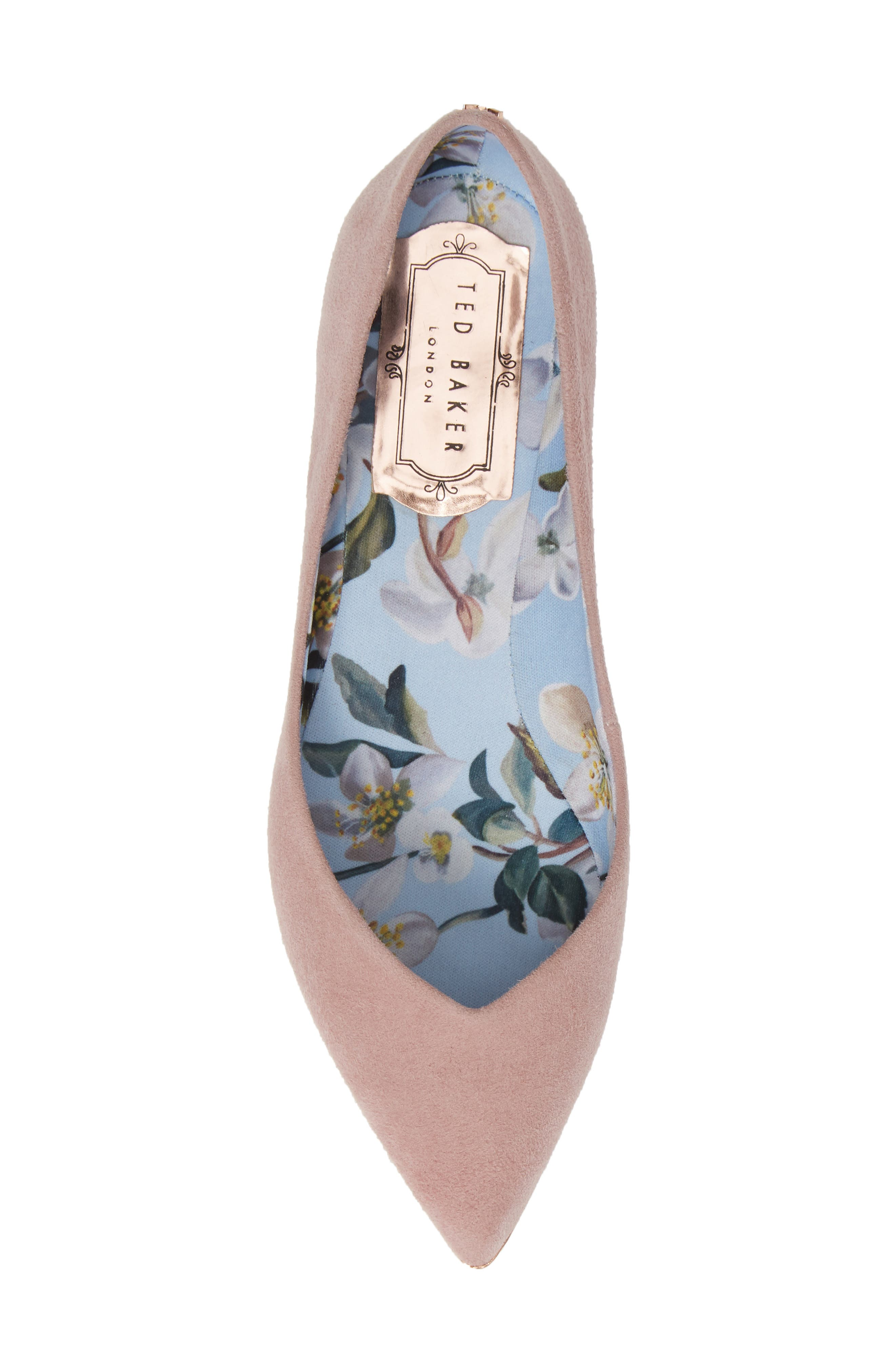 TED BAKER LONDON,                             Mancies Pointy Toe Flat,                             Alternate thumbnail 5, color,                             WINTER ROSE SUEDE