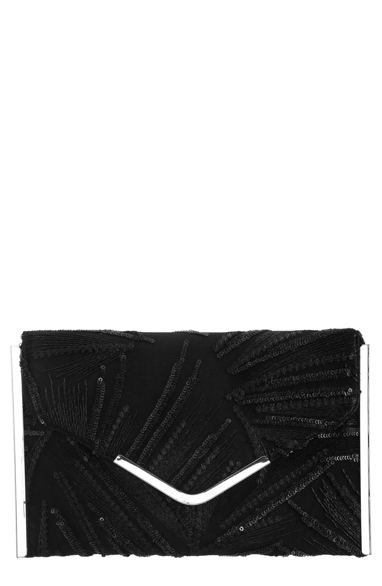 Embroidery Envelope Clutch Bag,                             Main thumbnail 1, color,                             BLACK