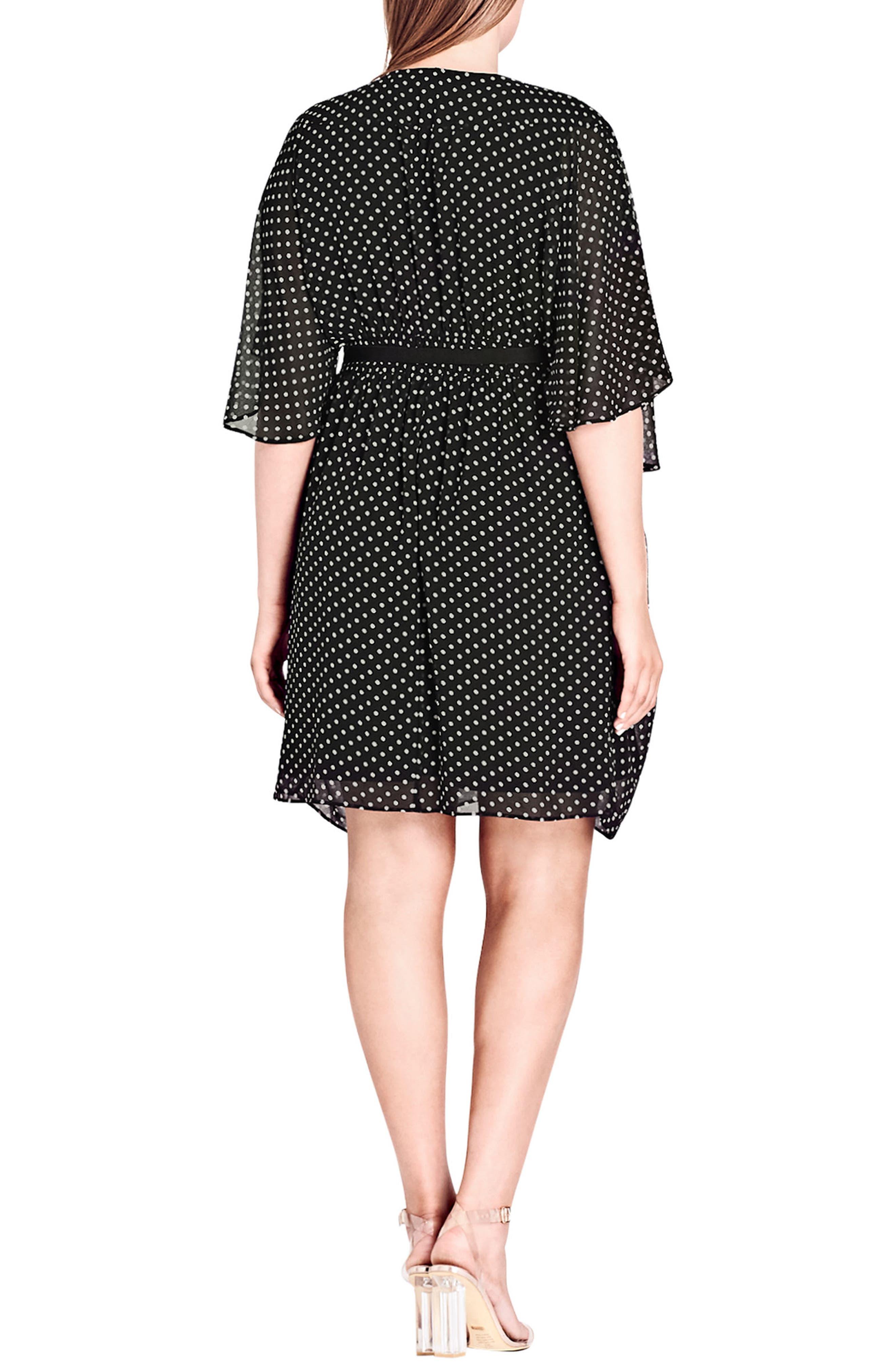 Polka Dot Faux Wrap Dress,                             Alternate thumbnail 3, color,                             PIN SPOT