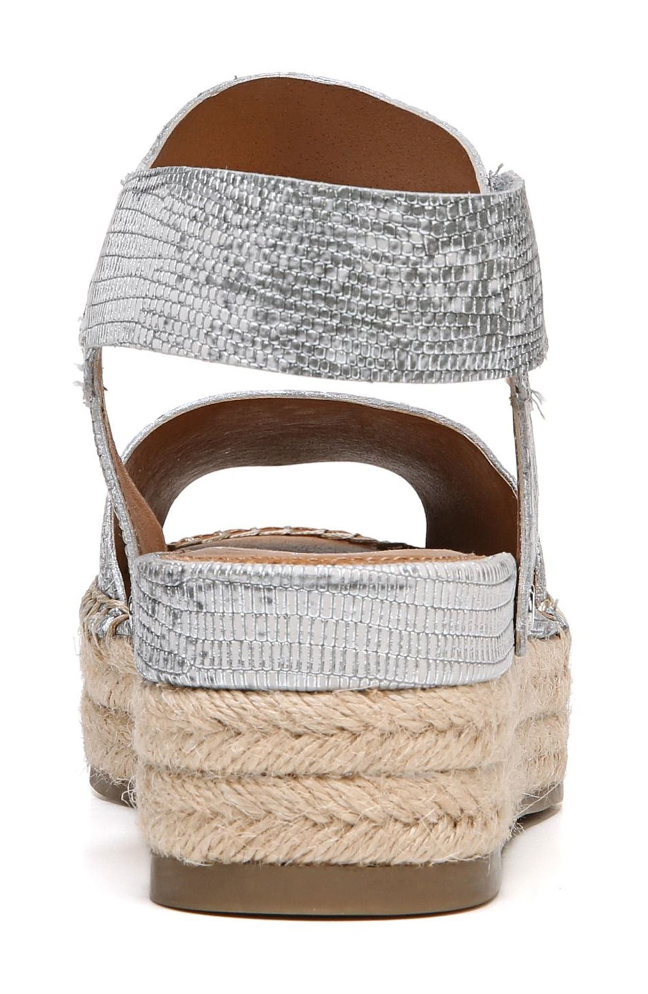 Oak Platform Wedge Espadrille,                             Alternate thumbnail 7, color,                             SILVER PRINTED LEATHER