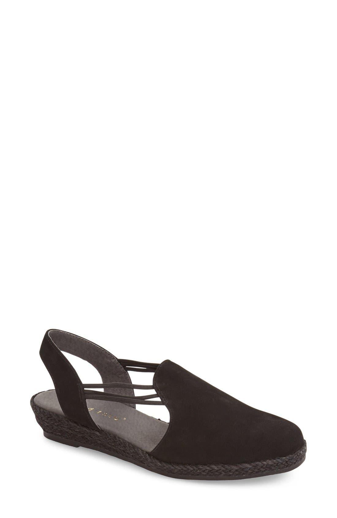 'Nelly' Slingback Wedge Sandal,                             Main thumbnail 1, color,                             BLACK NUBUCK