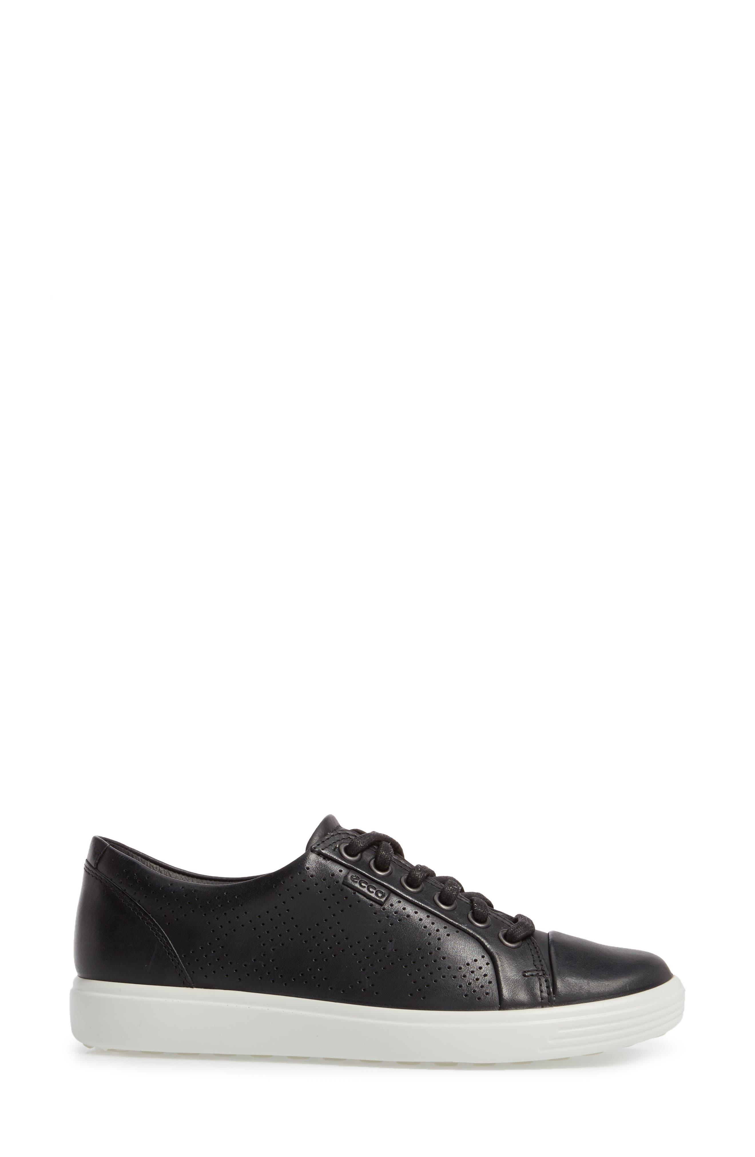 Soft 7 Sneaker,                             Alternate thumbnail 3, color,                             BLACK LEATHER