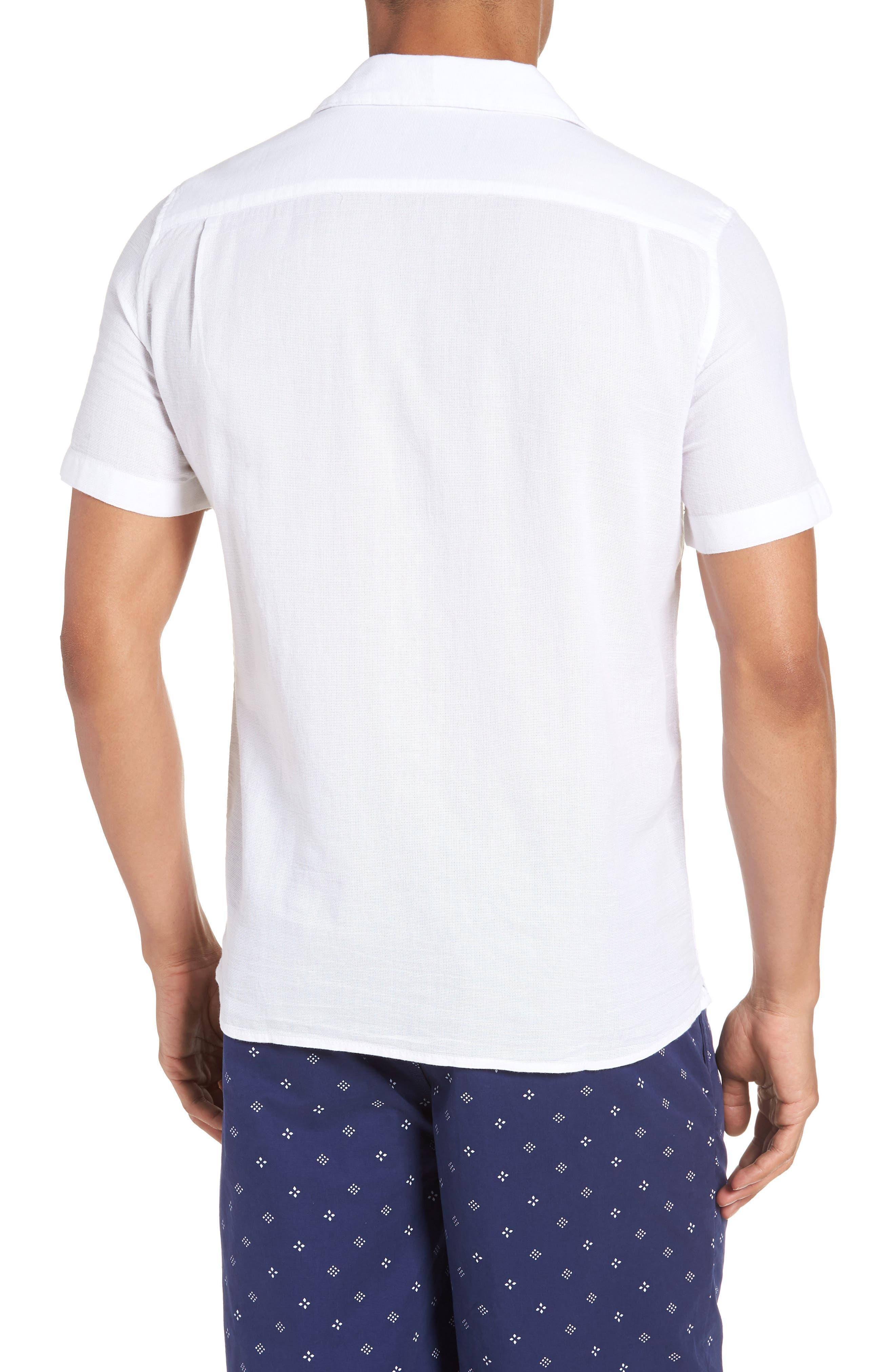 Regular Fit Textured Dobby Camp Shirt,                             Alternate thumbnail 2, color,                             100