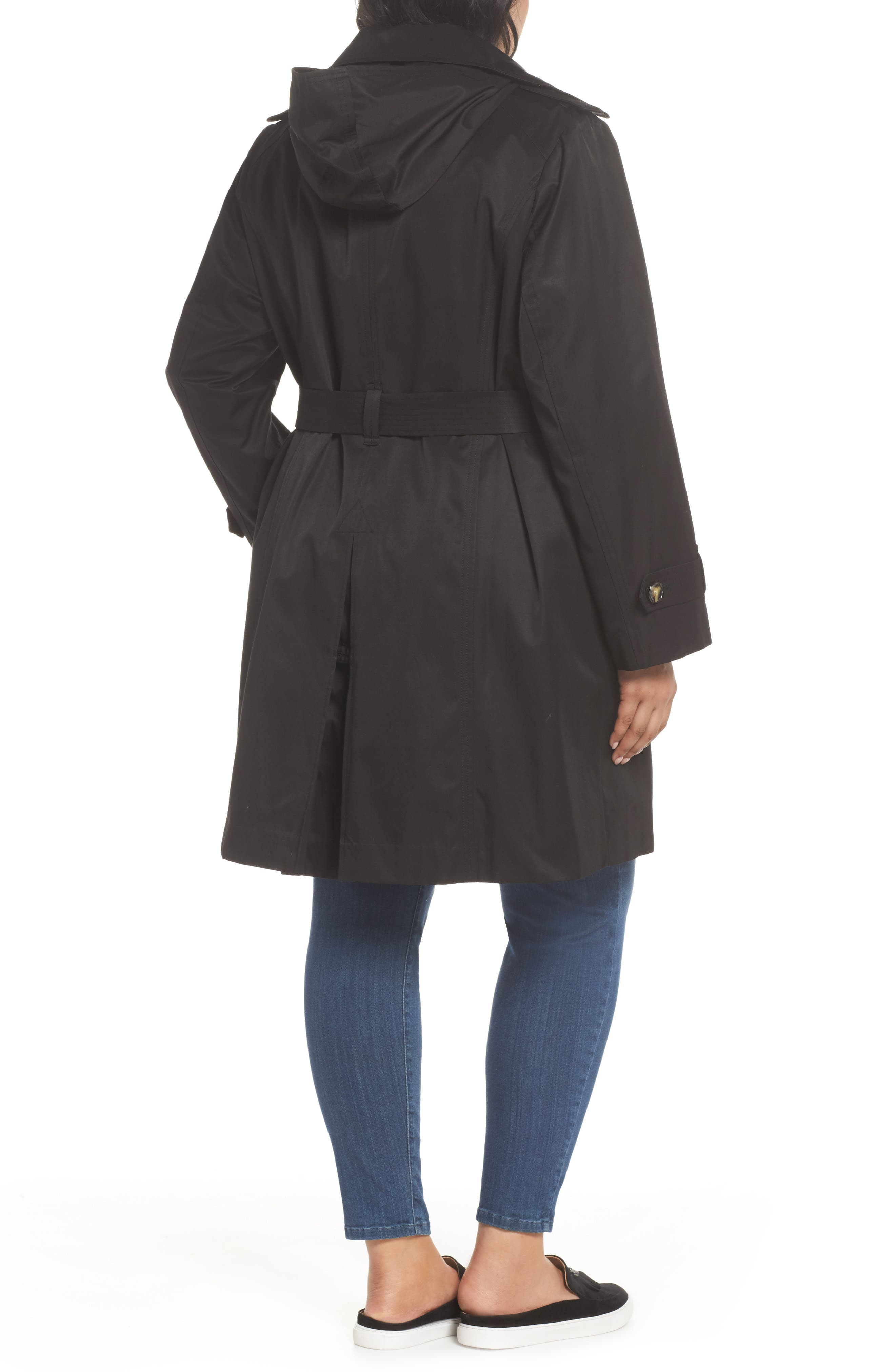 Hooded Double Breasted Trench Coat,                             Alternate thumbnail 2, color,                             BLACK