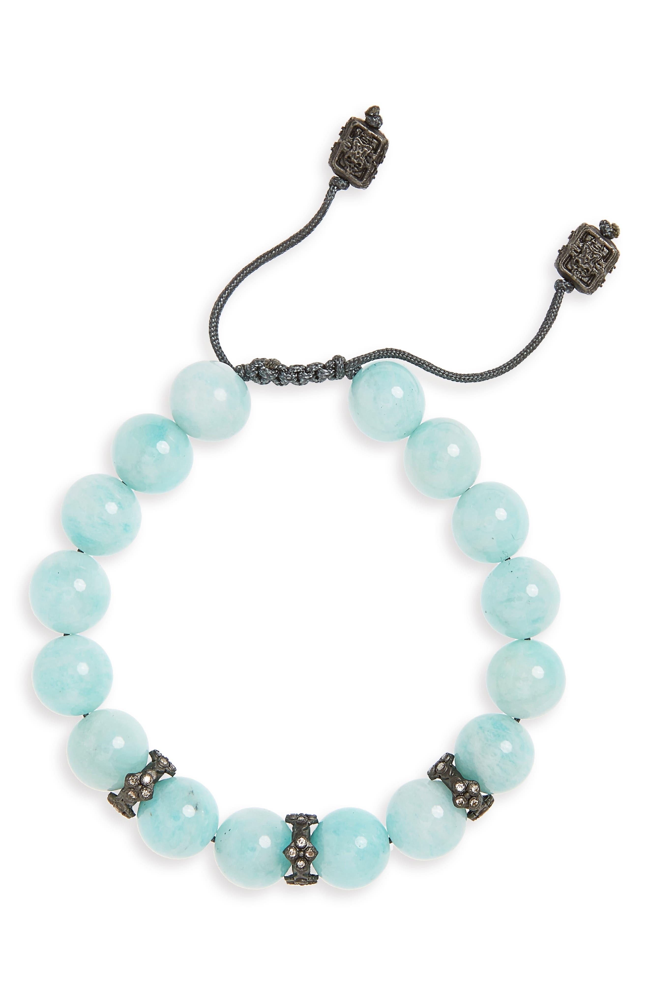 Old World Beaded Bracelet,                         Main,                         color, AMAZONITE/ BLACKENED  STERLING