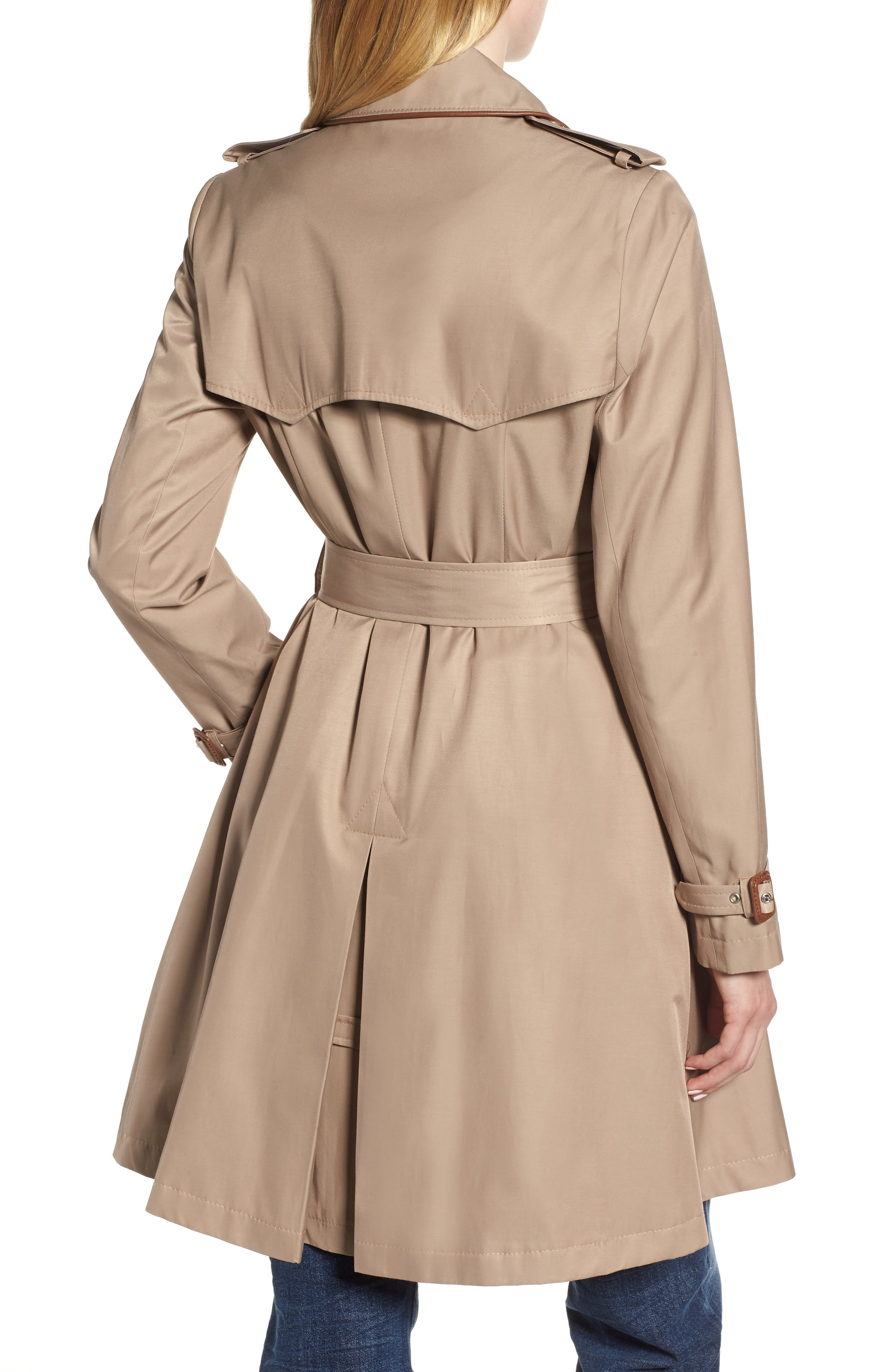 Faux Leather Trim Trench Coat,                             Alternate thumbnail 2, color,                             262