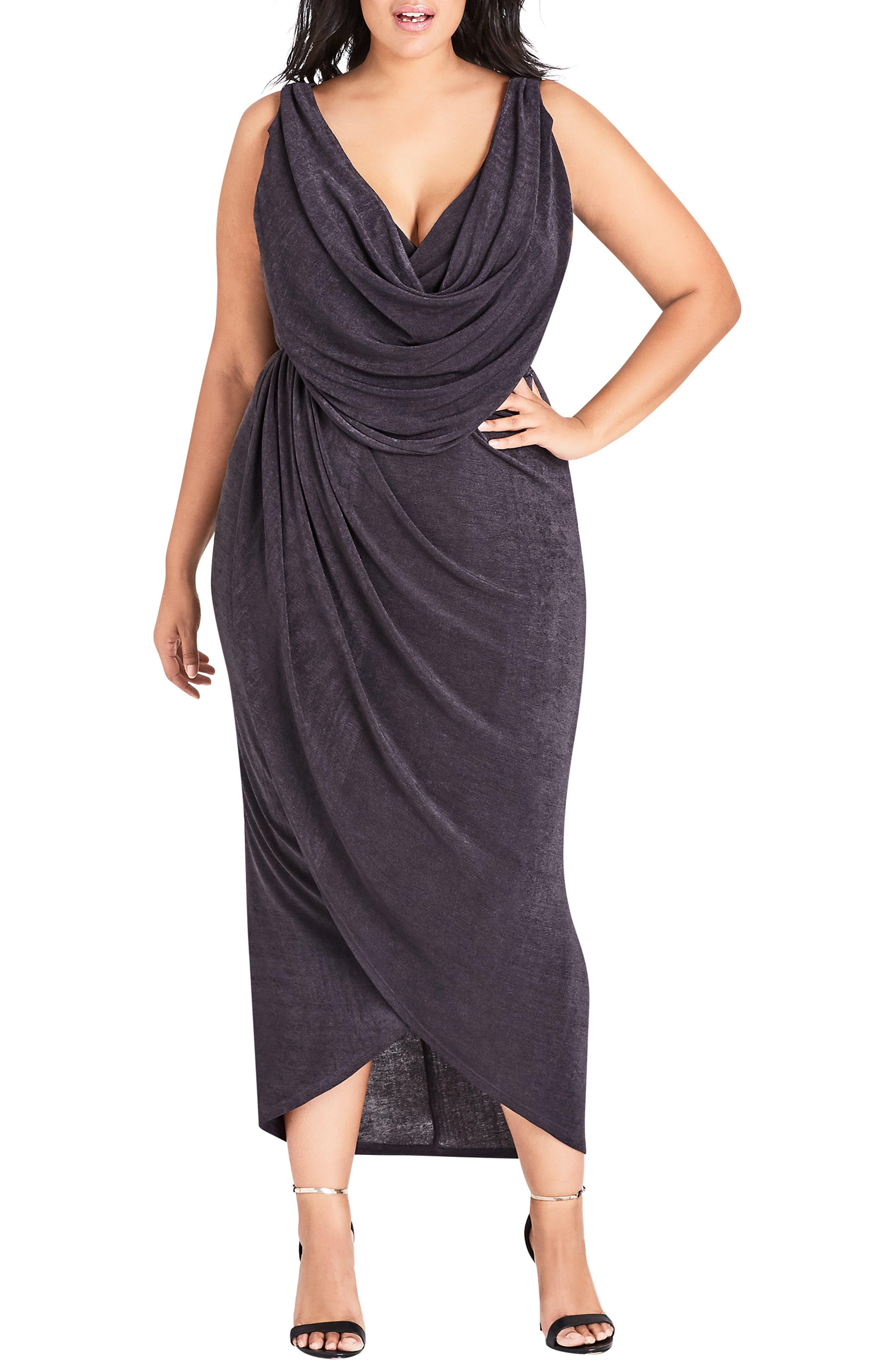 Plus Size City Chic Draped Sleeveless Dress, Grey