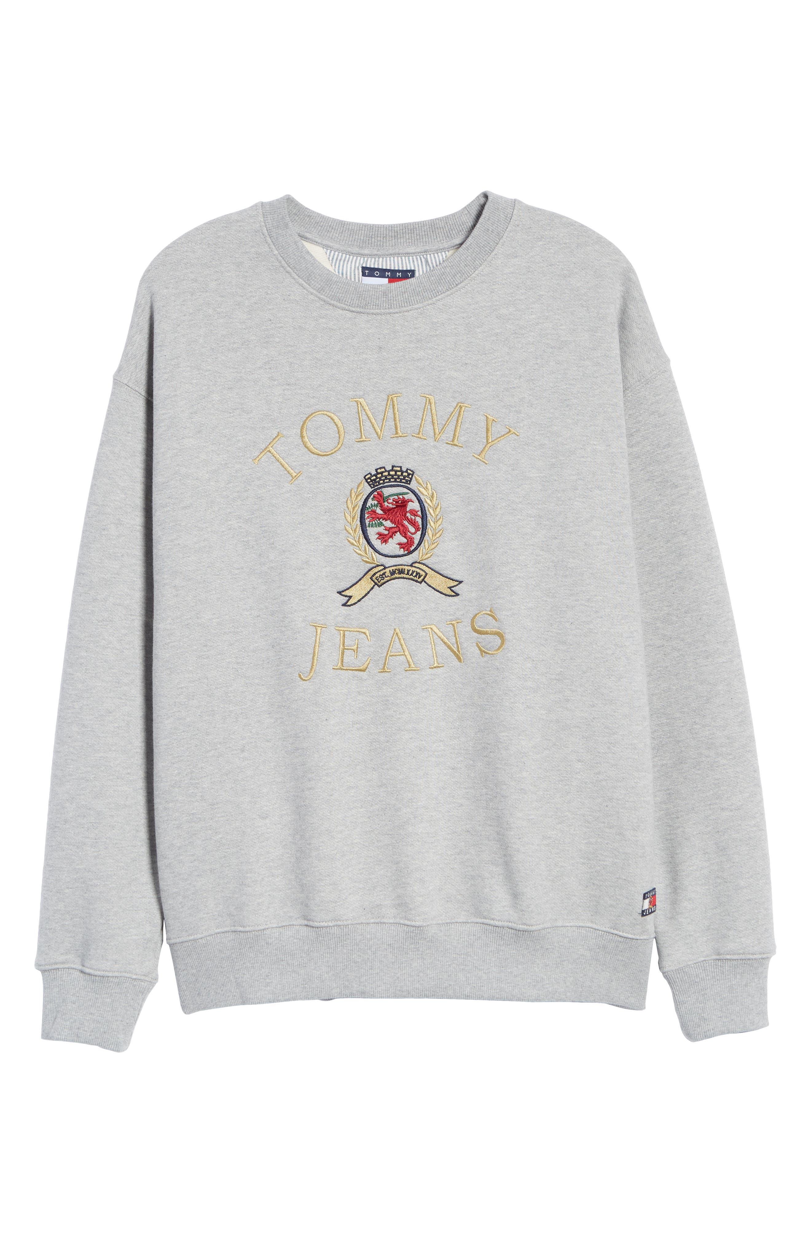 Embroidered Crest Sweatshirt,                             Alternate thumbnail 6, color,                             GREY HTR