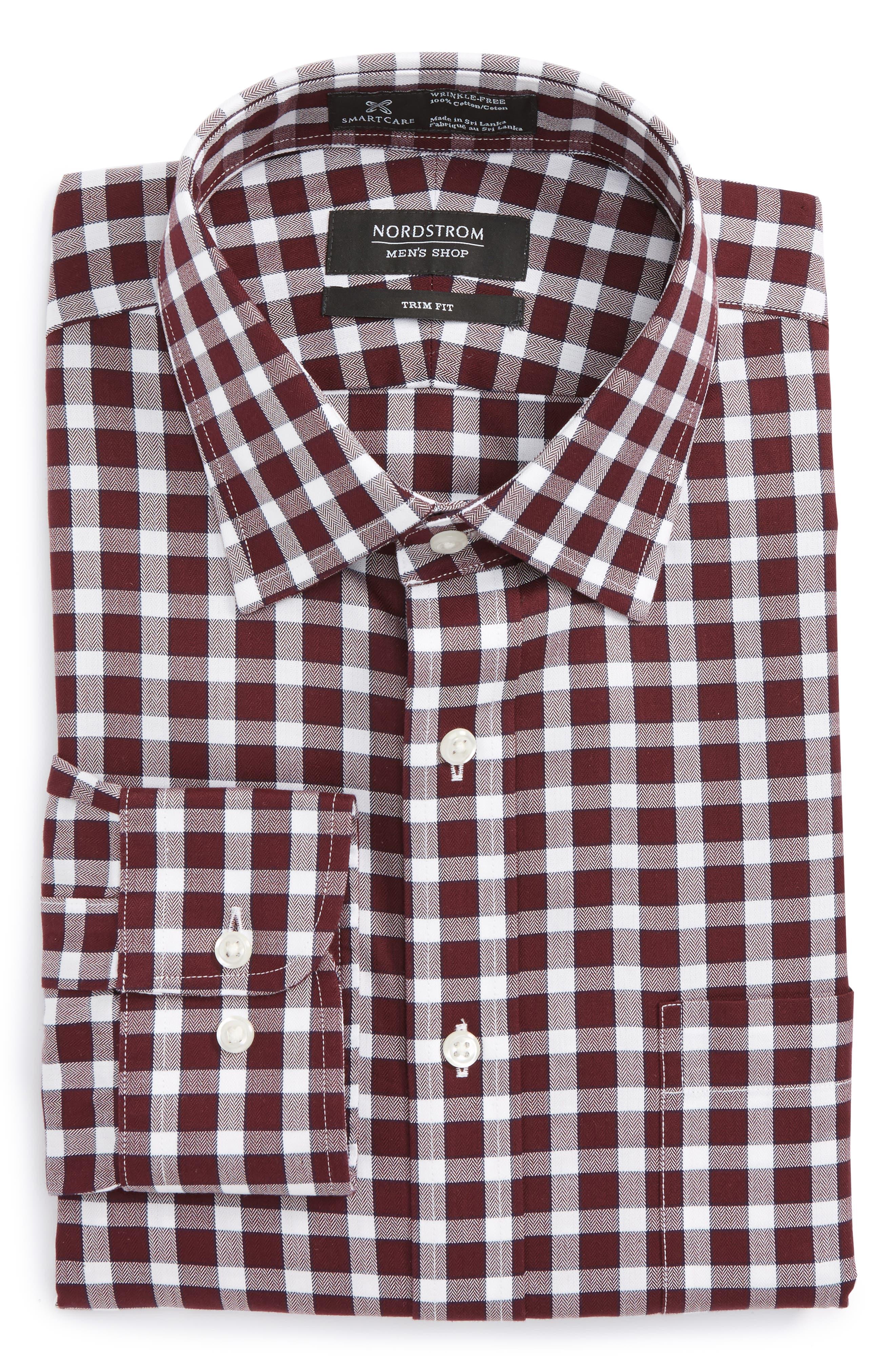 Smartcare<sup>™</sup> Trim Fit Check Dress Shirt,                             Main thumbnail 4, color,