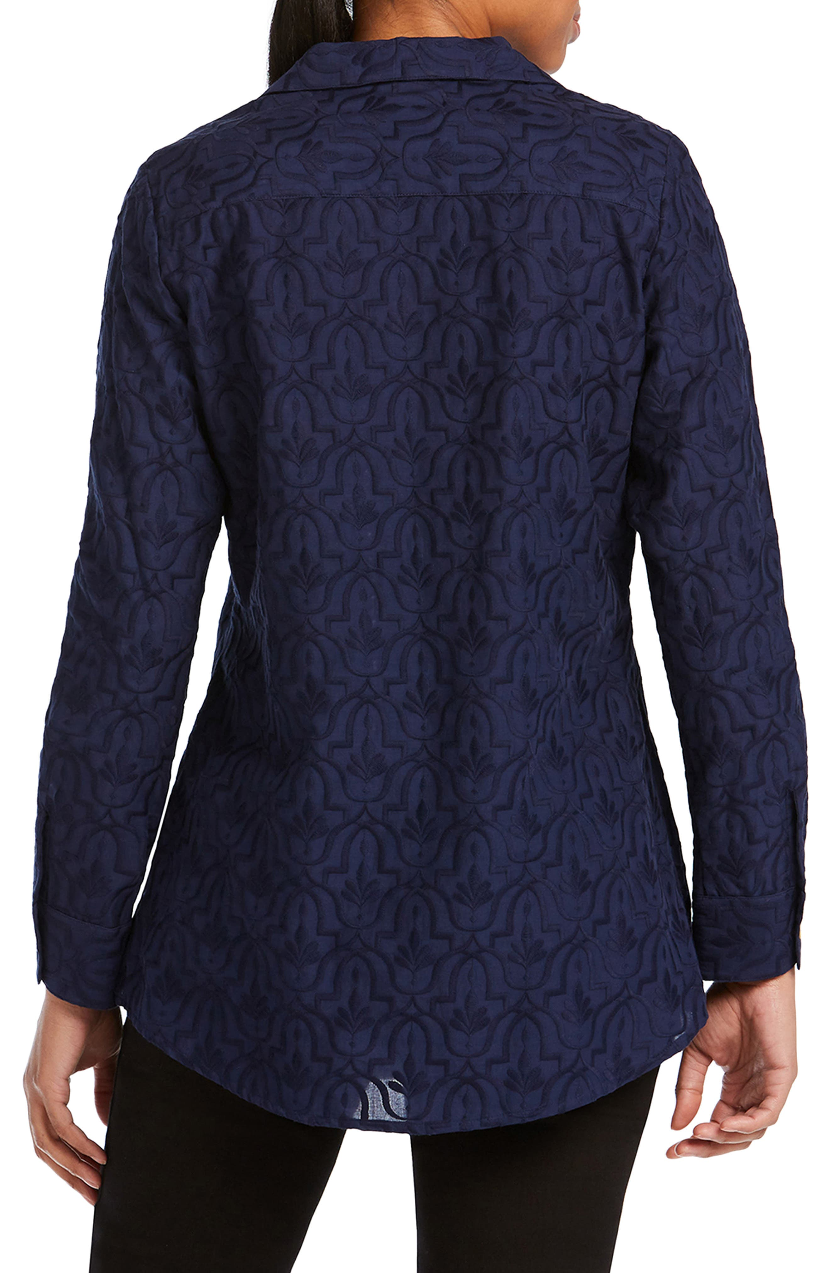 Ivy Mosaic Embroidery Cotton Tunic Top,                             Alternate thumbnail 2, color,                             NAVY