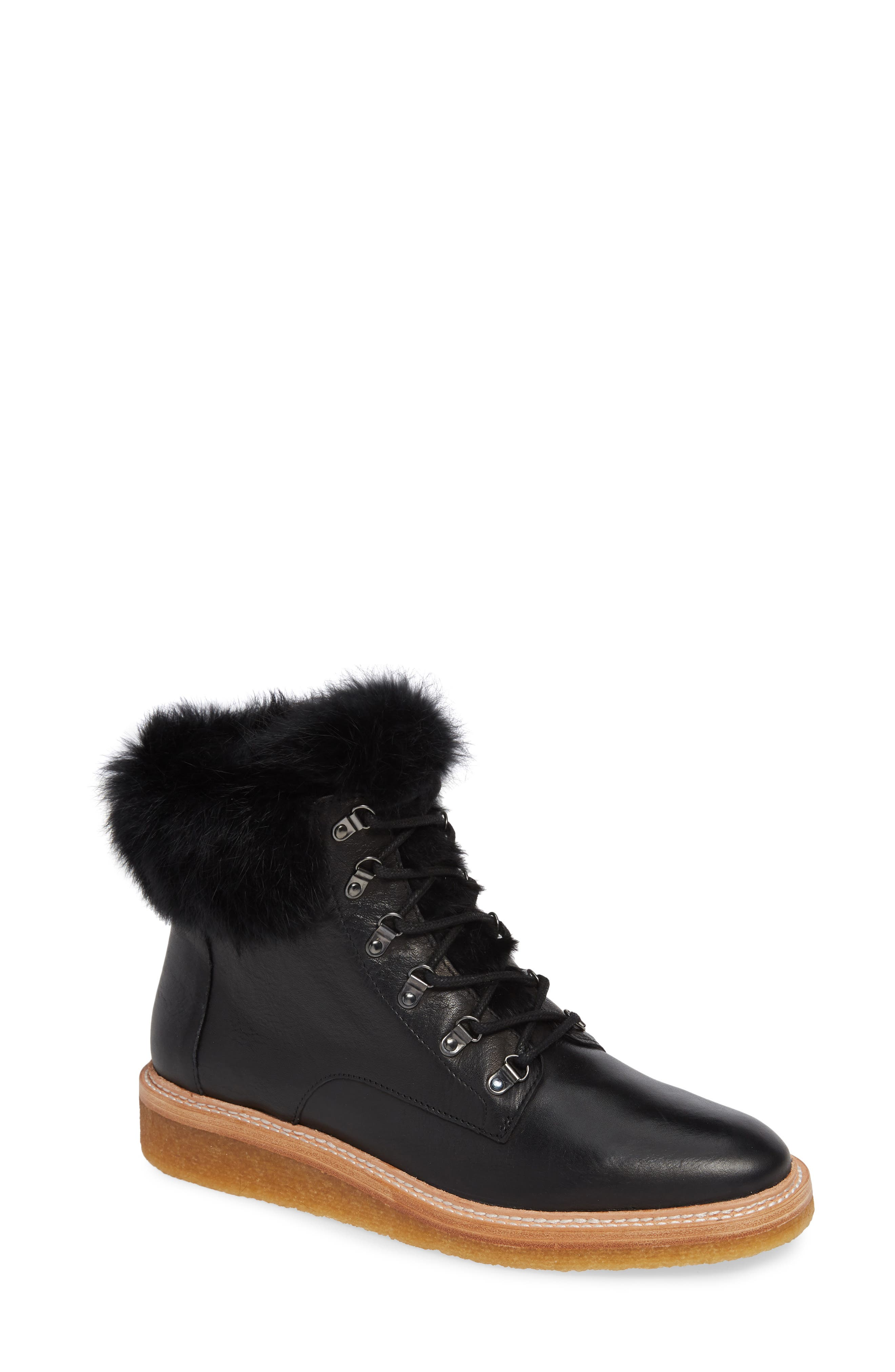Winter Genuine Rabbit Fur Trim Boot,                             Main thumbnail 1, color,                             BLACK LEATHER