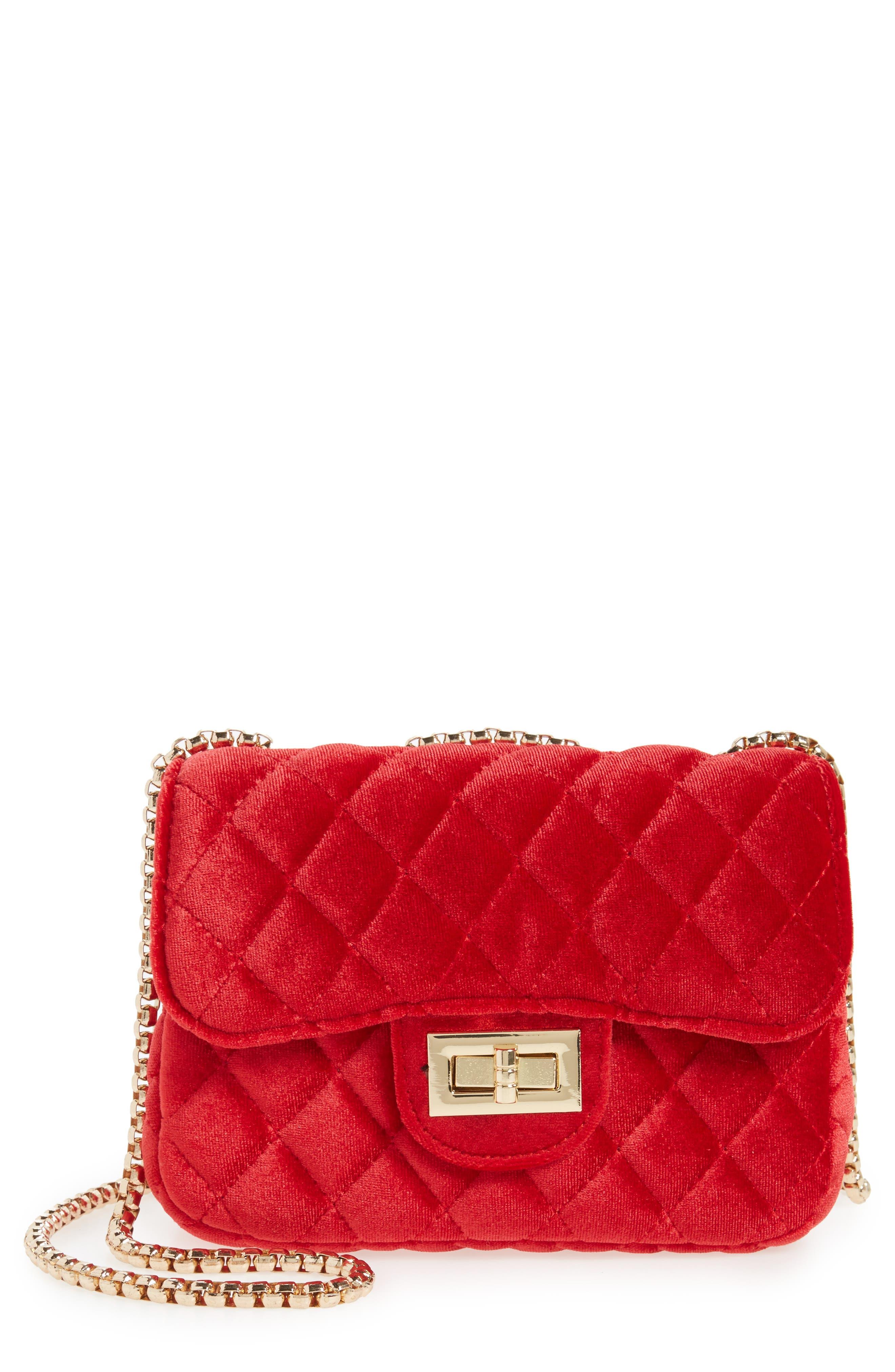 POPATU Quilted Velvet Shoulder Bag, Main, color, RED