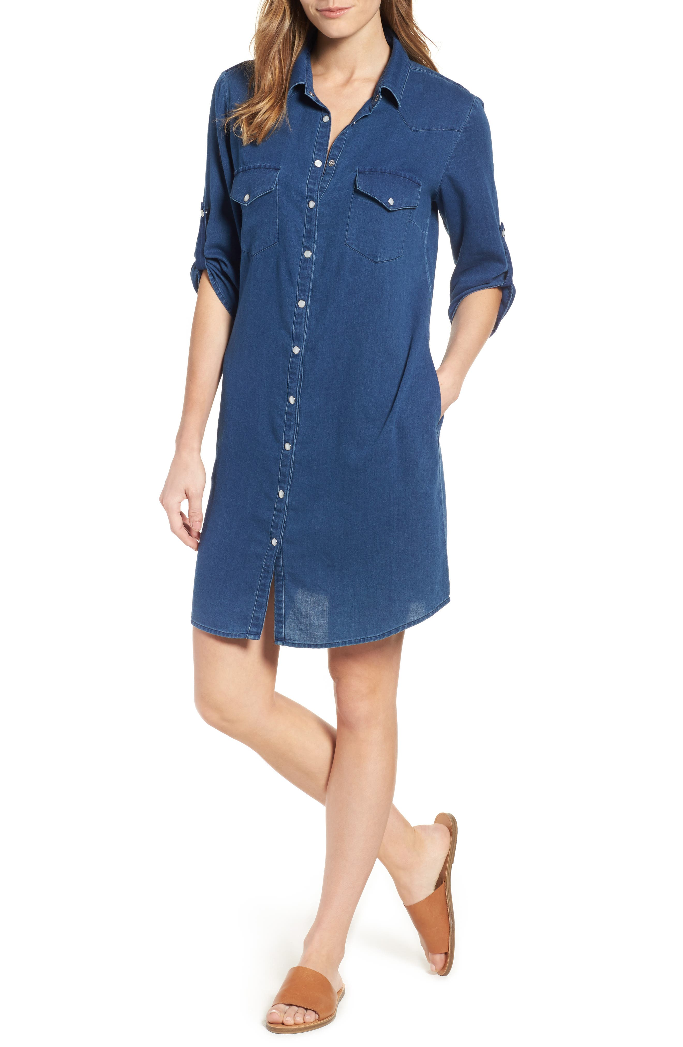 Denim Shirtdress,                             Main thumbnail 1, color,                             425