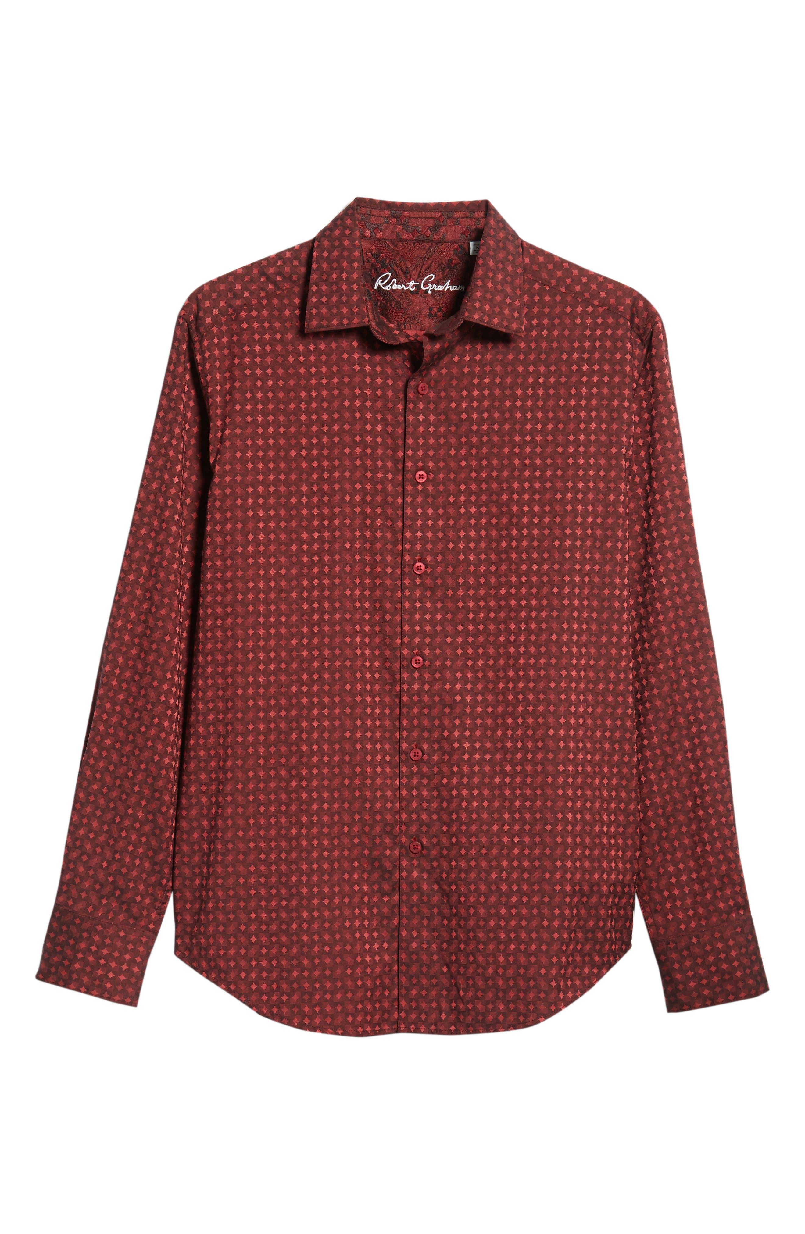 Harris Classic Fit Sport Shirt,                             Alternate thumbnail 5, color,                             BURGUNDY