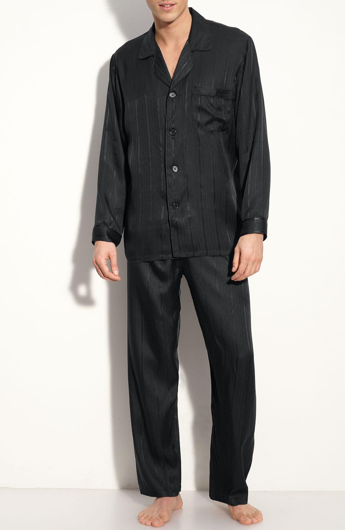 Herringbone Stripe Silk Pajamas,                             Main thumbnail 1, color,                             NIGHT
