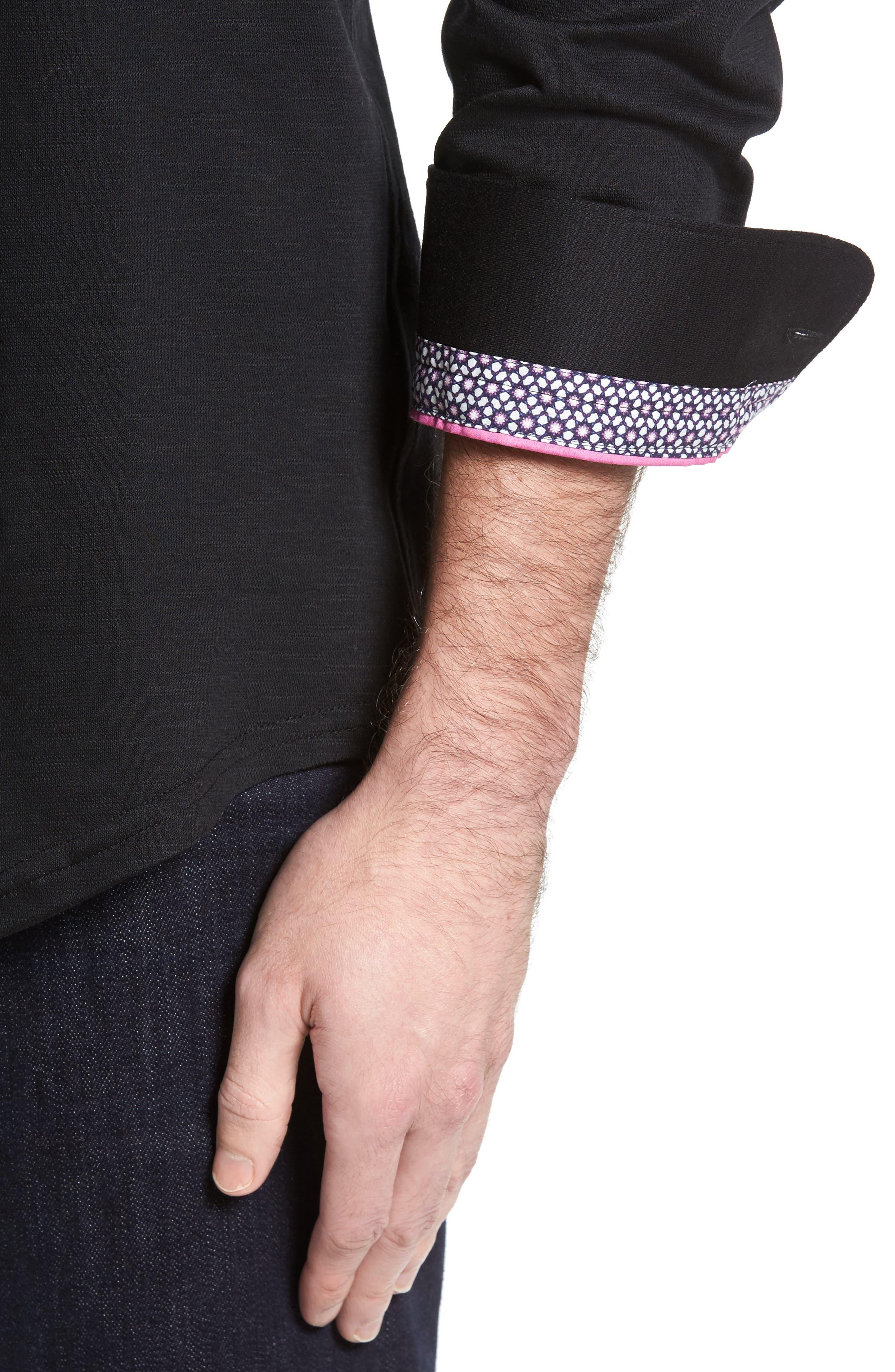 Flamé Knit Sport Shirt,                             Alternate thumbnail 4, color,                             001