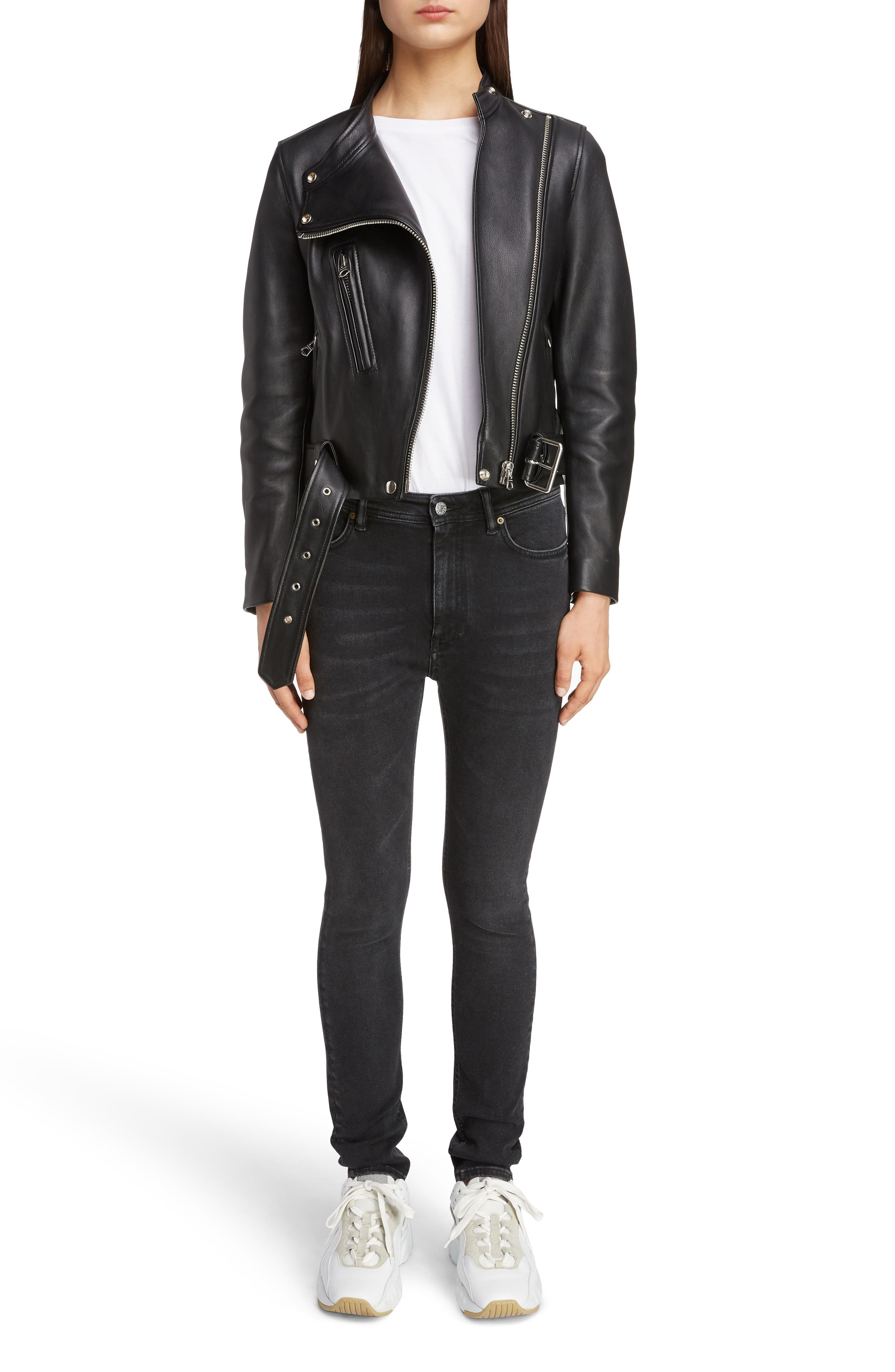 ACNE STUDIOS,                             Lewis Leather Moto Jacket,                             Alternate thumbnail 6, color,                             BLACK