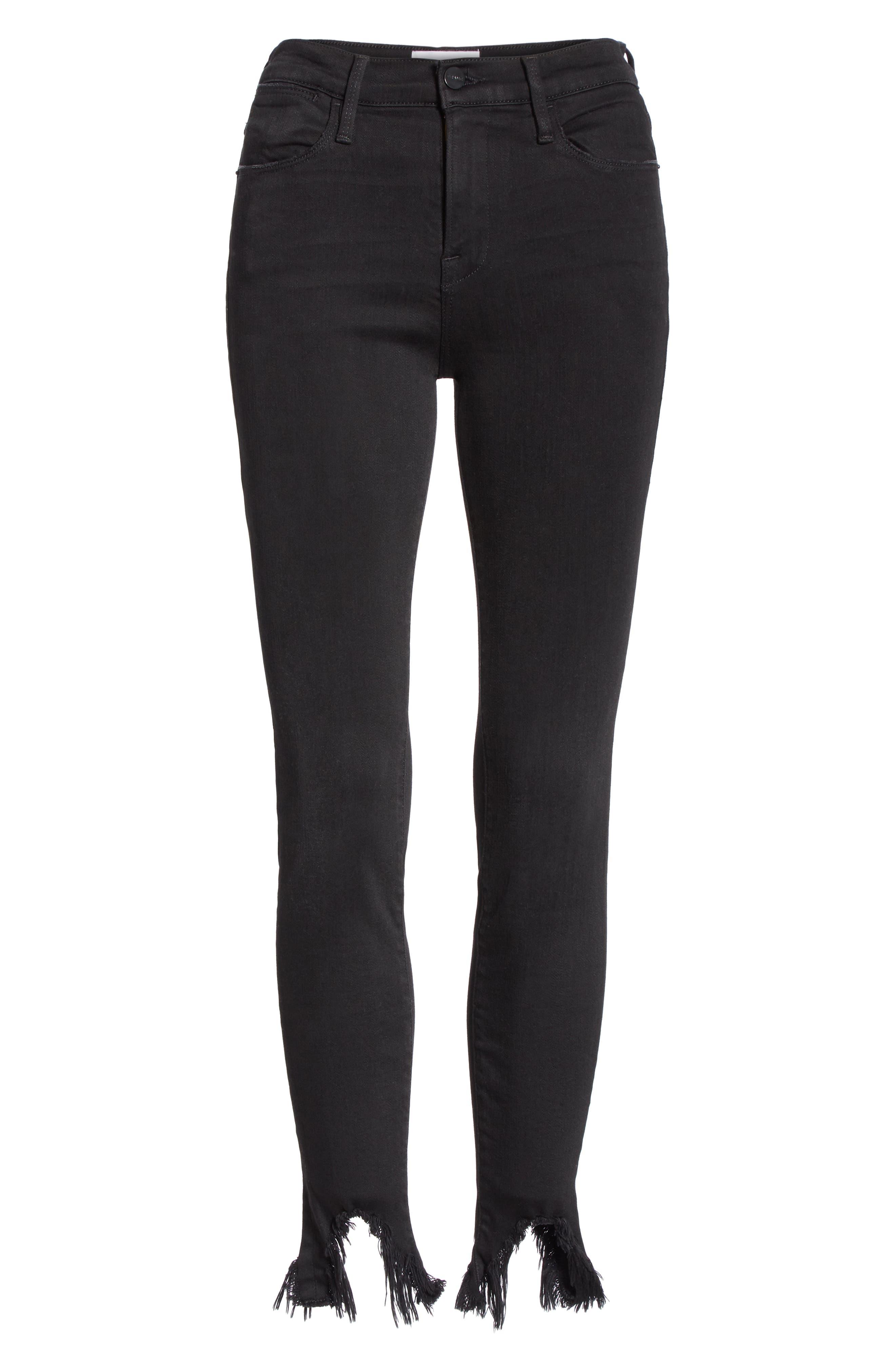 Le High Shredded Curved Hem Skinny Jeans,                             Alternate thumbnail 6, color,                             BLACKFISH