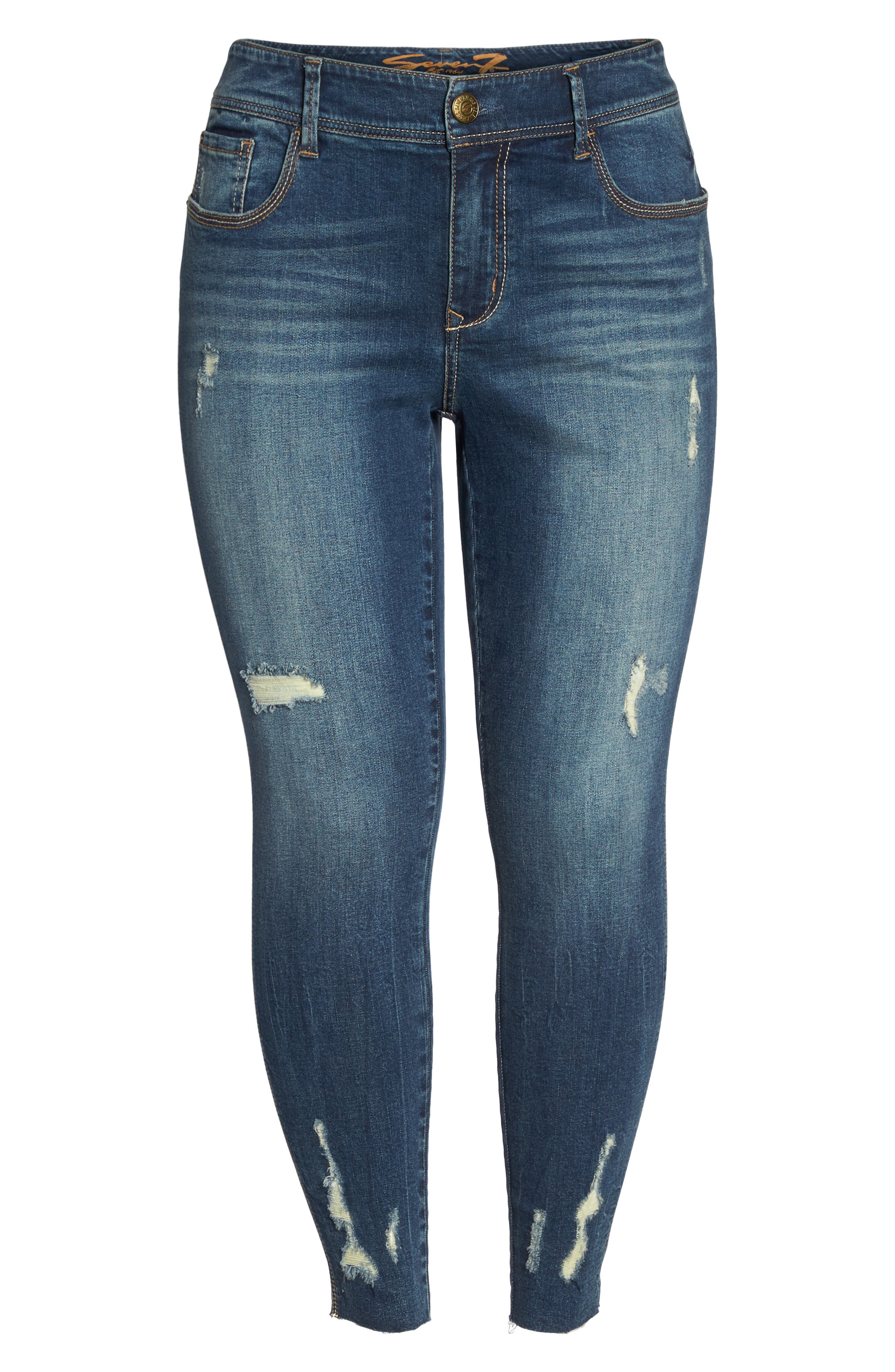 Distressed Raw Hem Skinny Jeans,                             Alternate thumbnail 6, color,                             420