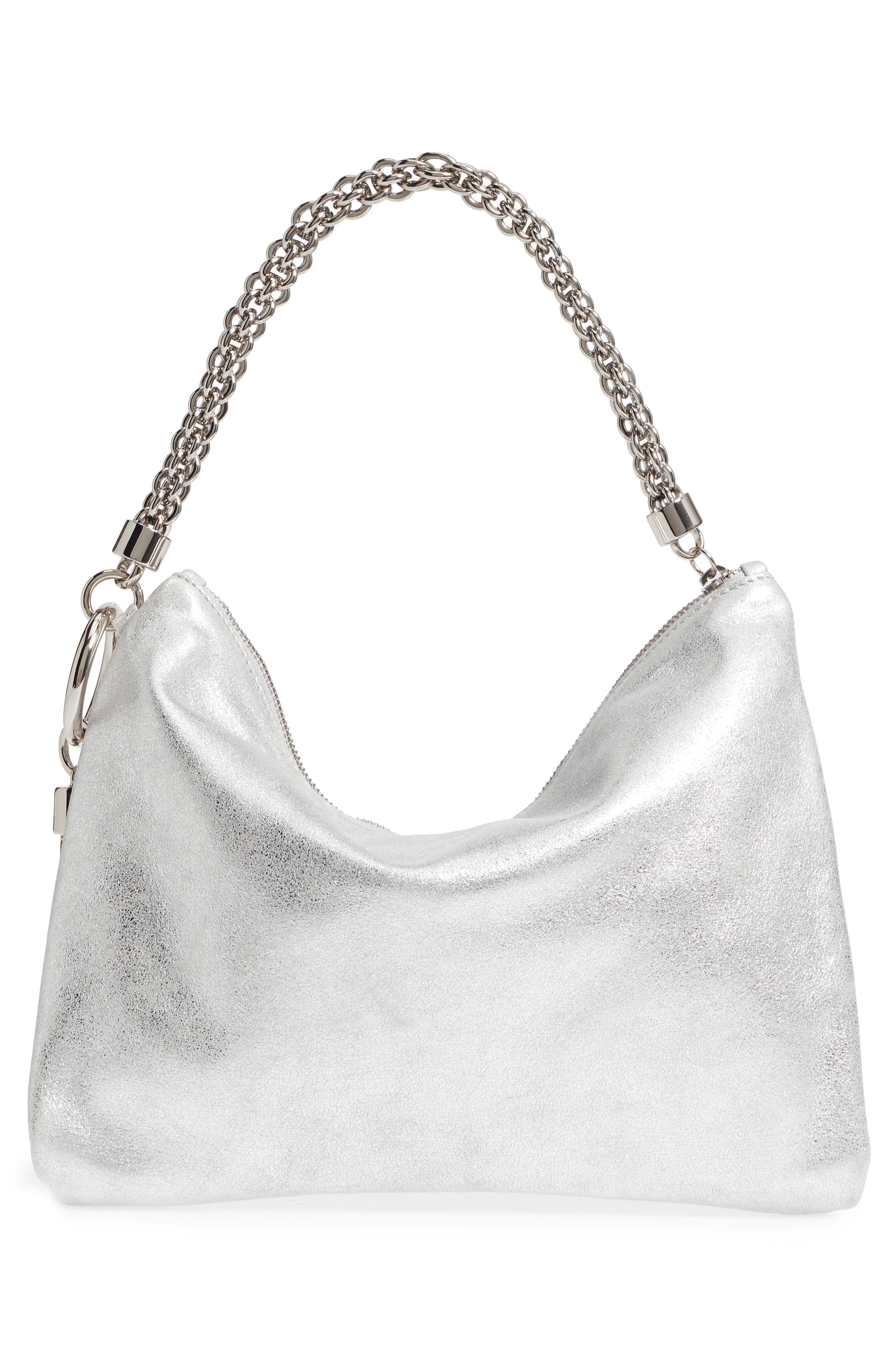 Callie Evening Metallic Leather Clutch,                             Alternate thumbnail 4, color,                             SILVER