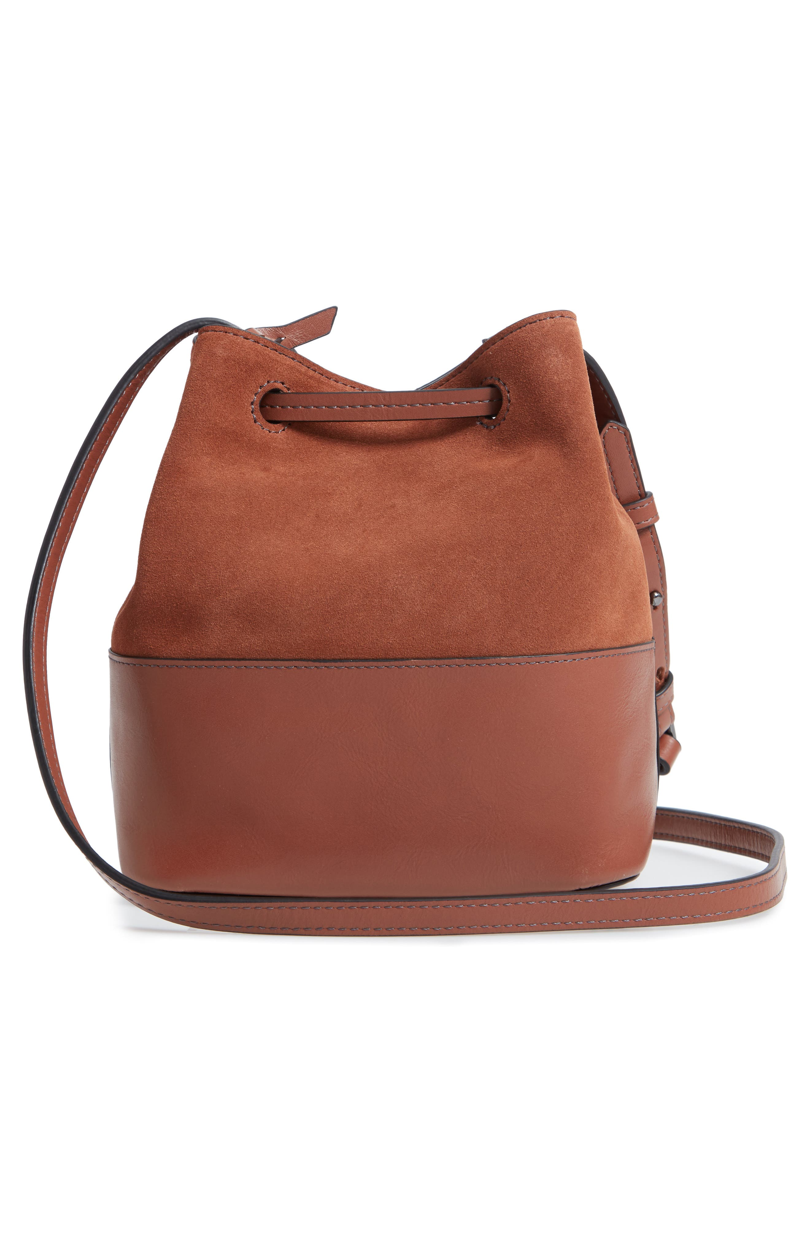 Small Blake RFID Leather Bucket Bag,                             Alternate thumbnail 3, color,                             202