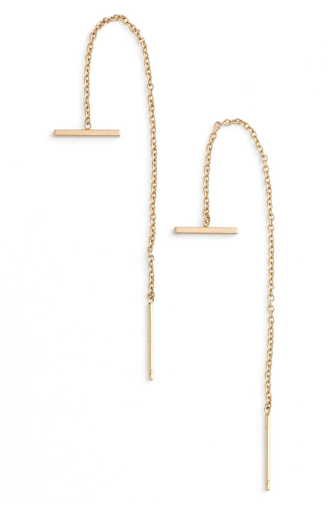 ZOË CHICCO Bar Threader Earrings, Main, color, YELLOW GOLD