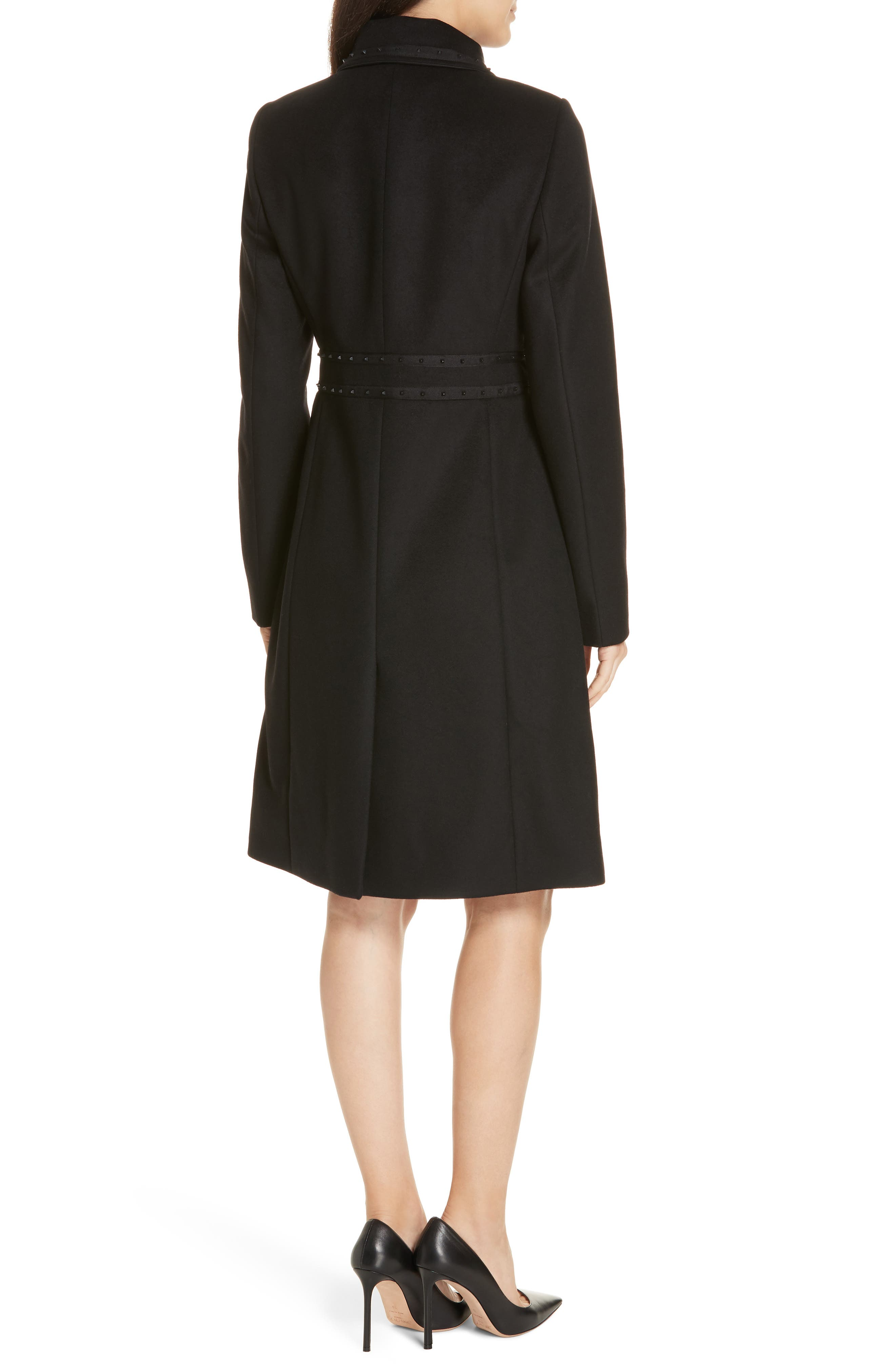 Wool & Cashmere Coat,                             Alternate thumbnail 2, color,                             BLACK