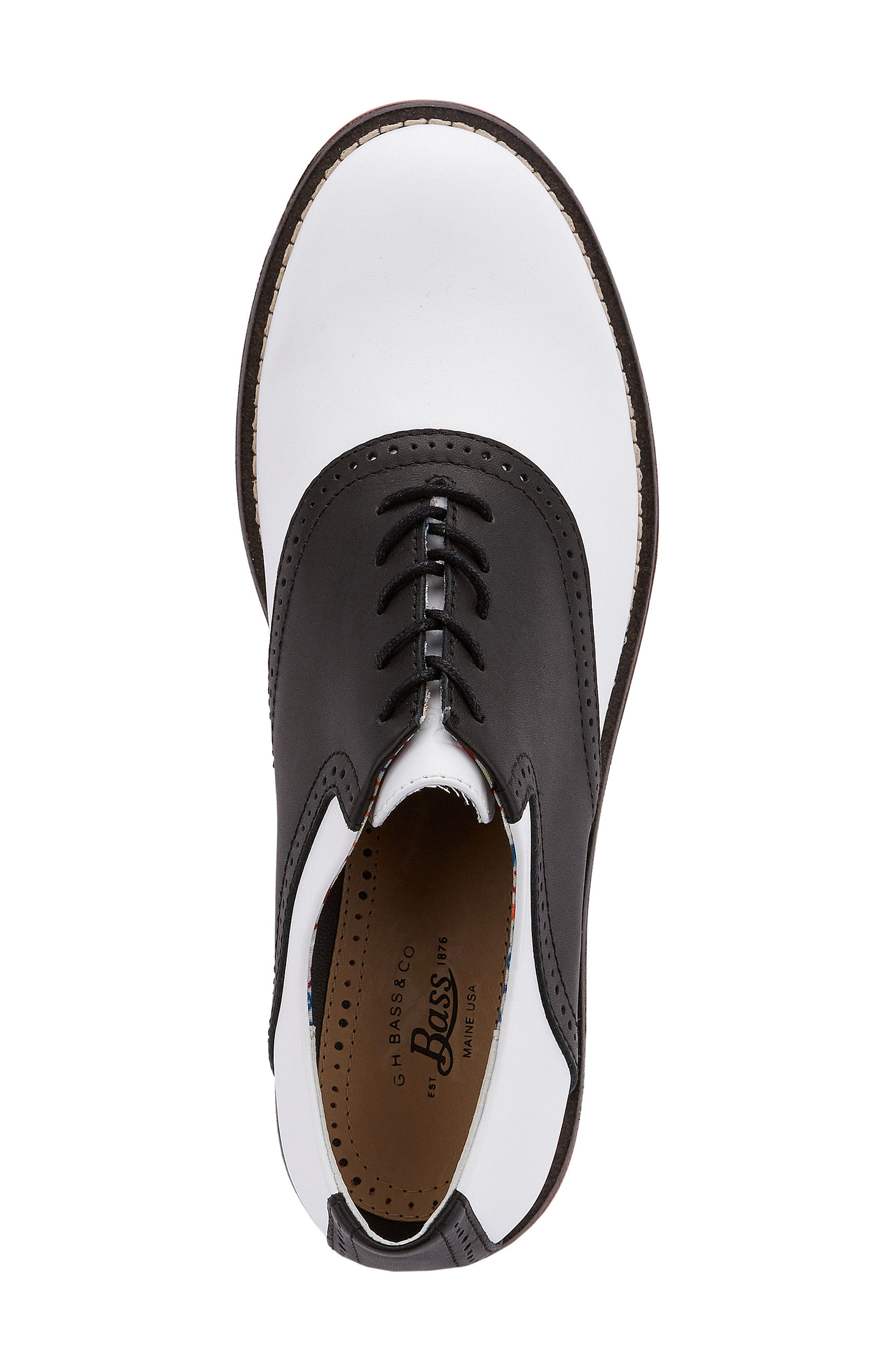 G.H. Bass and Co. Dora Lace-Up Oxford,                             Alternate thumbnail 3, color,                             BLACK/ WHITE LEATHER