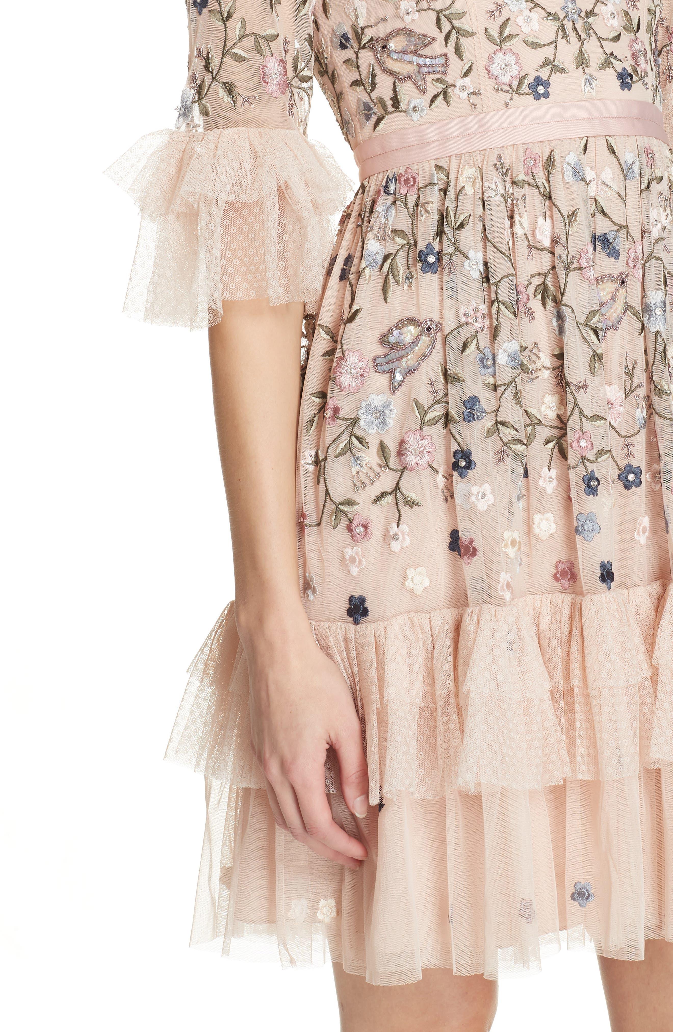 Dusk Floral A-Line Dress,                             Alternate thumbnail 4, color,                             ROSE QUARTZ