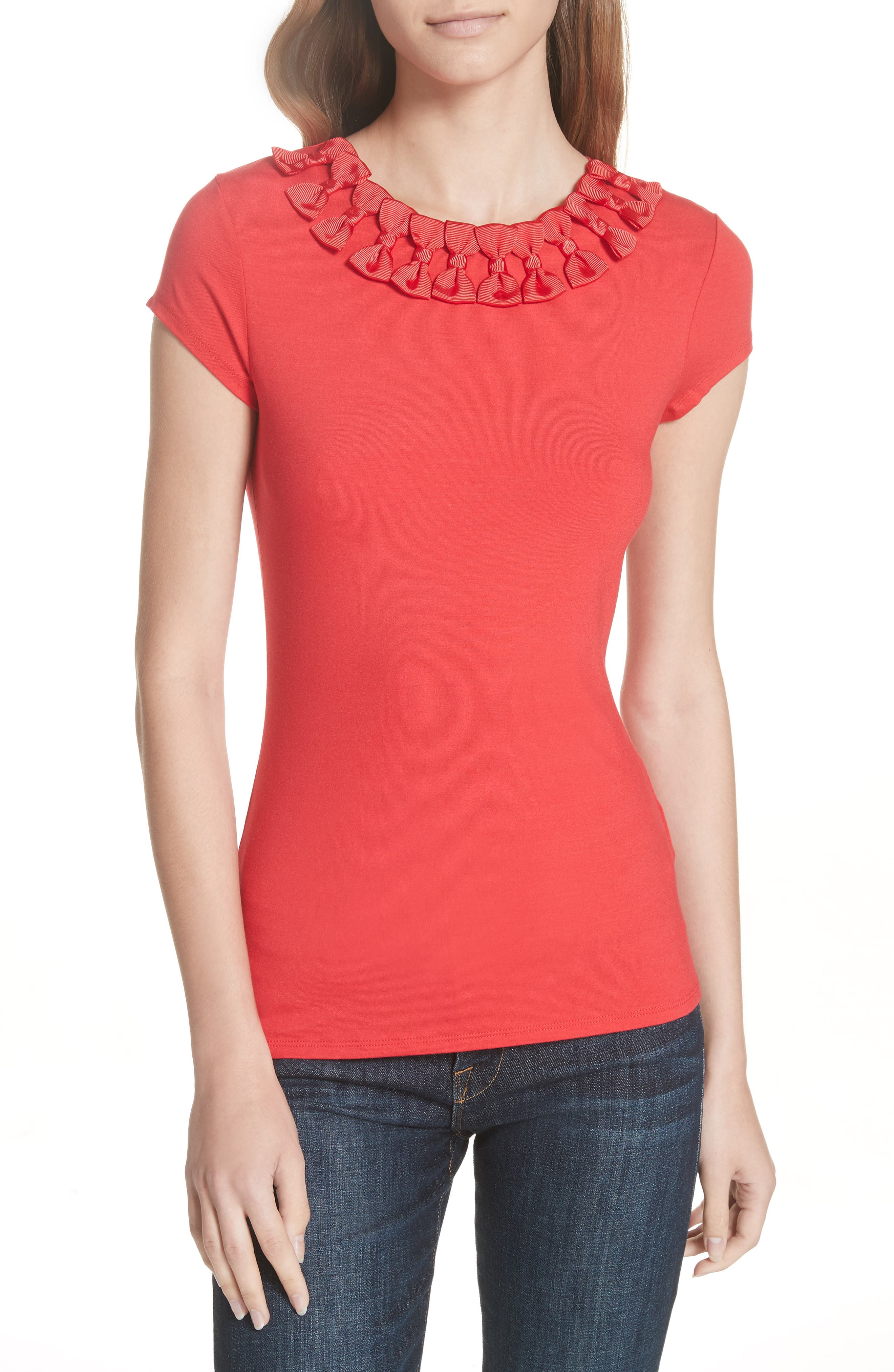 Charre Bow Neck Tee, Main, color, 611