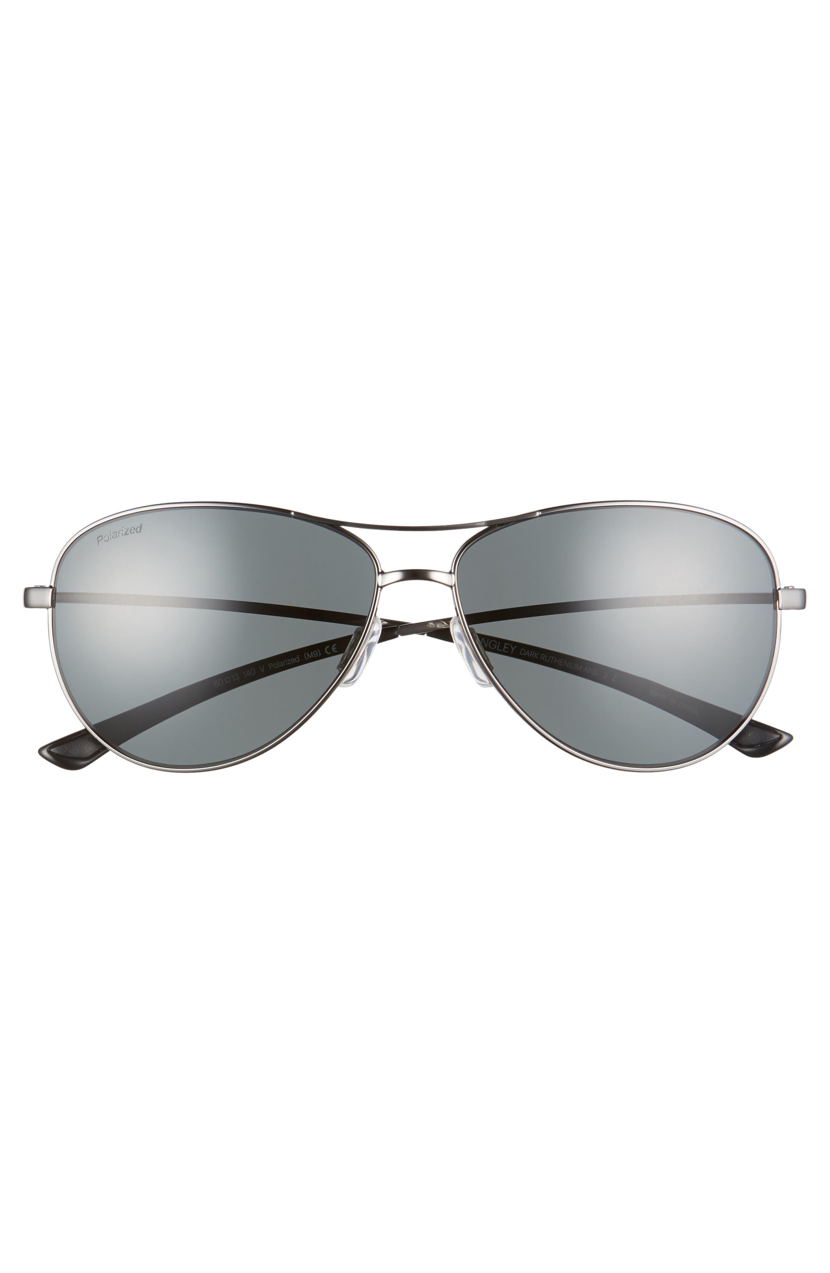 Langley 60mm ChromaPop<sup>™</sup> Polarized Aviator Sunglasses,                             Alternate thumbnail 3, color,                             DARK RUTHENIUM/ GREY