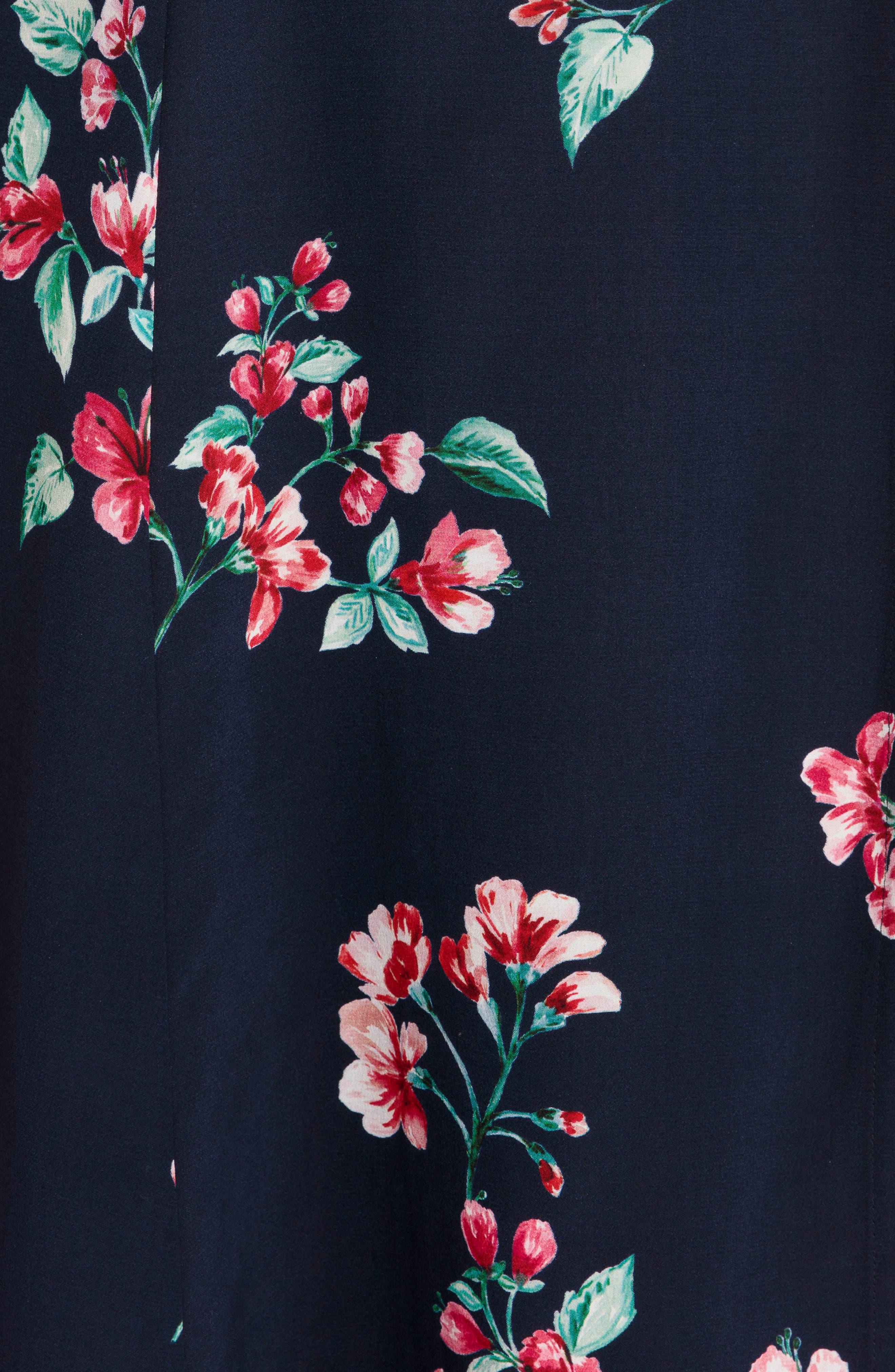 Amber Floral Silk Wrap Dress,                             Alternate thumbnail 5, color,                             400