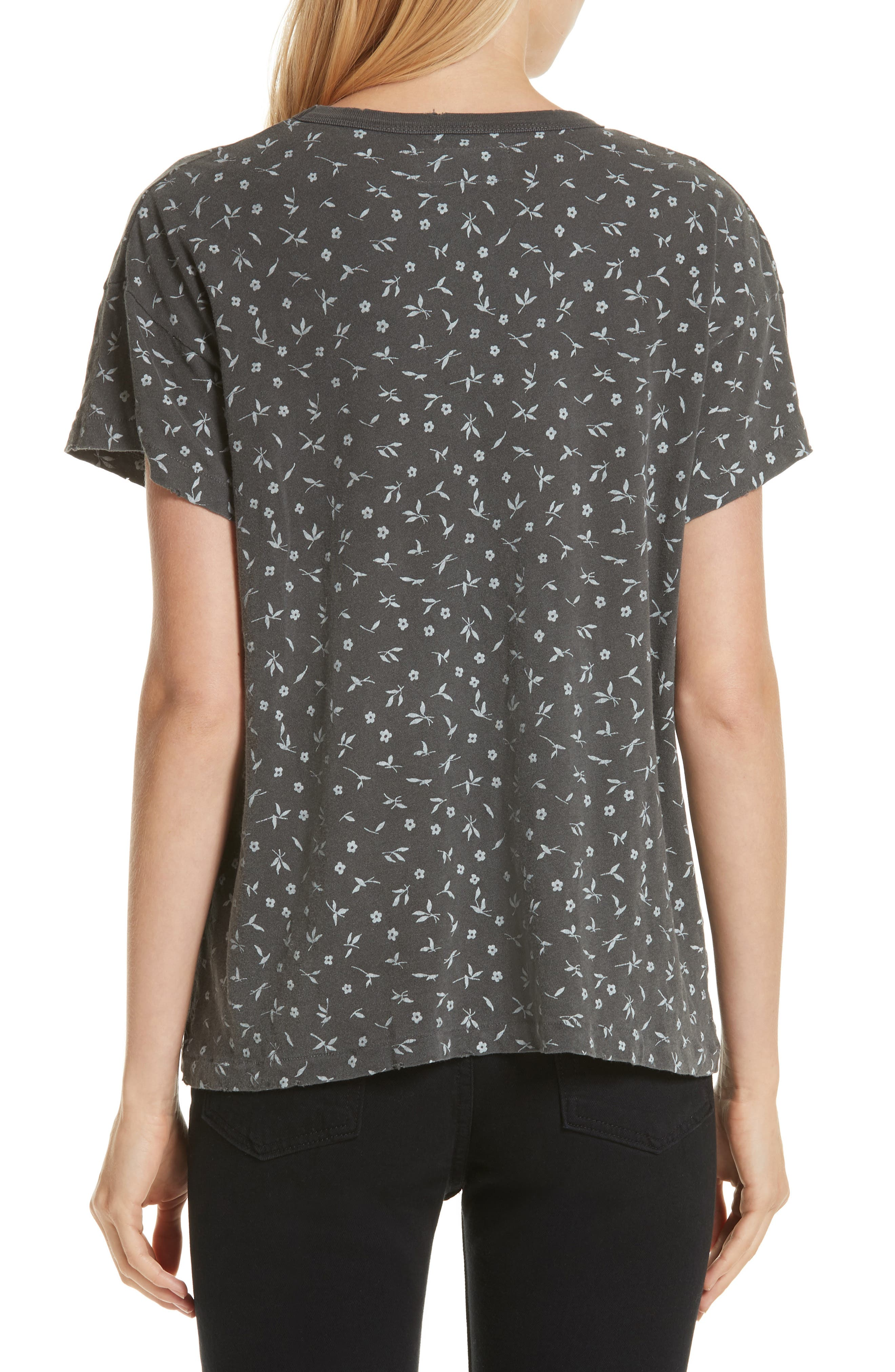 The Boxy Crew Tee,                             Alternate thumbnail 2, color,                             WASHED BLACK DITZY FLORAL