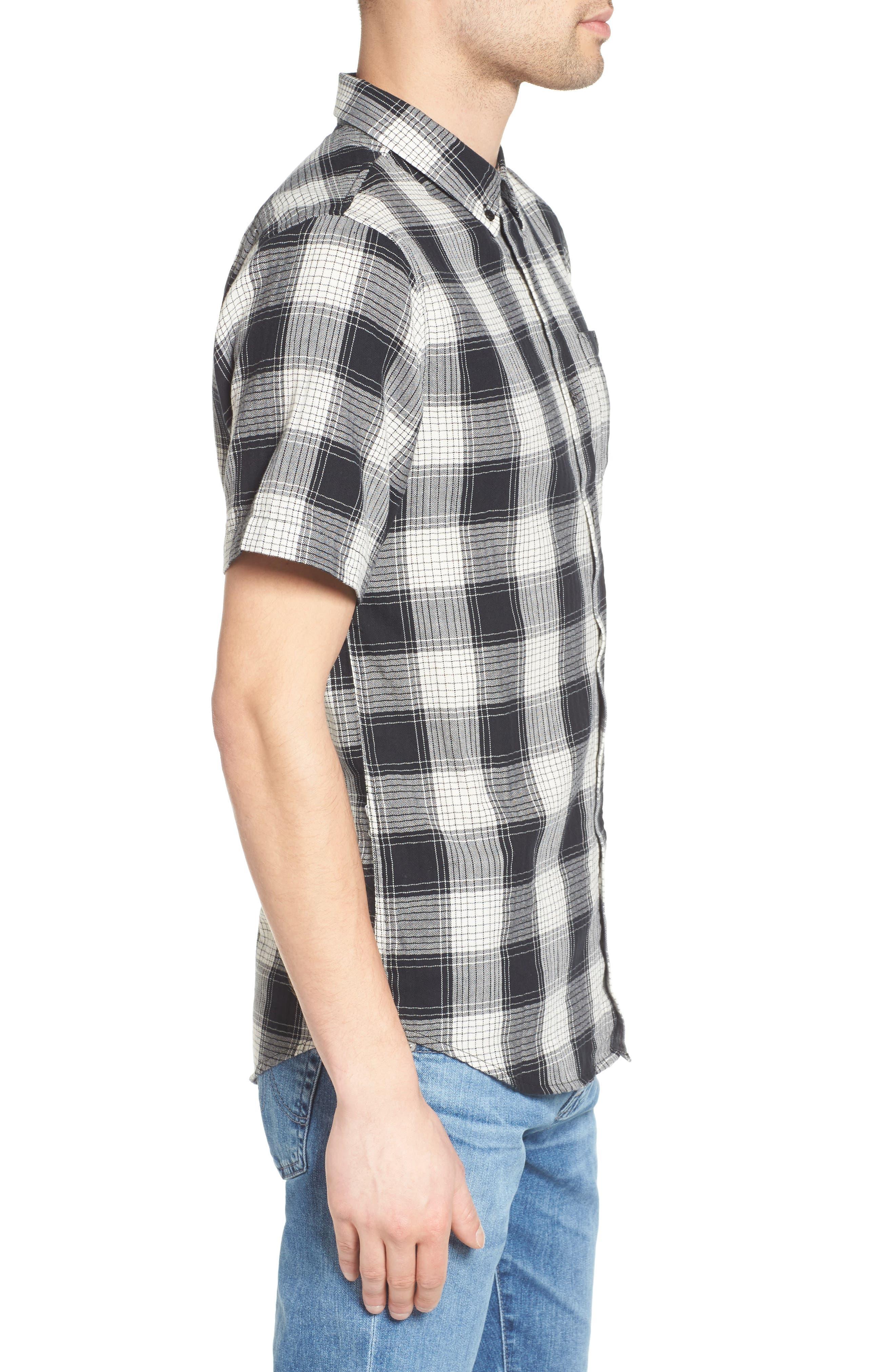 Herringbone Woven Plaid Shirt,                             Alternate thumbnail 3, color,                             100