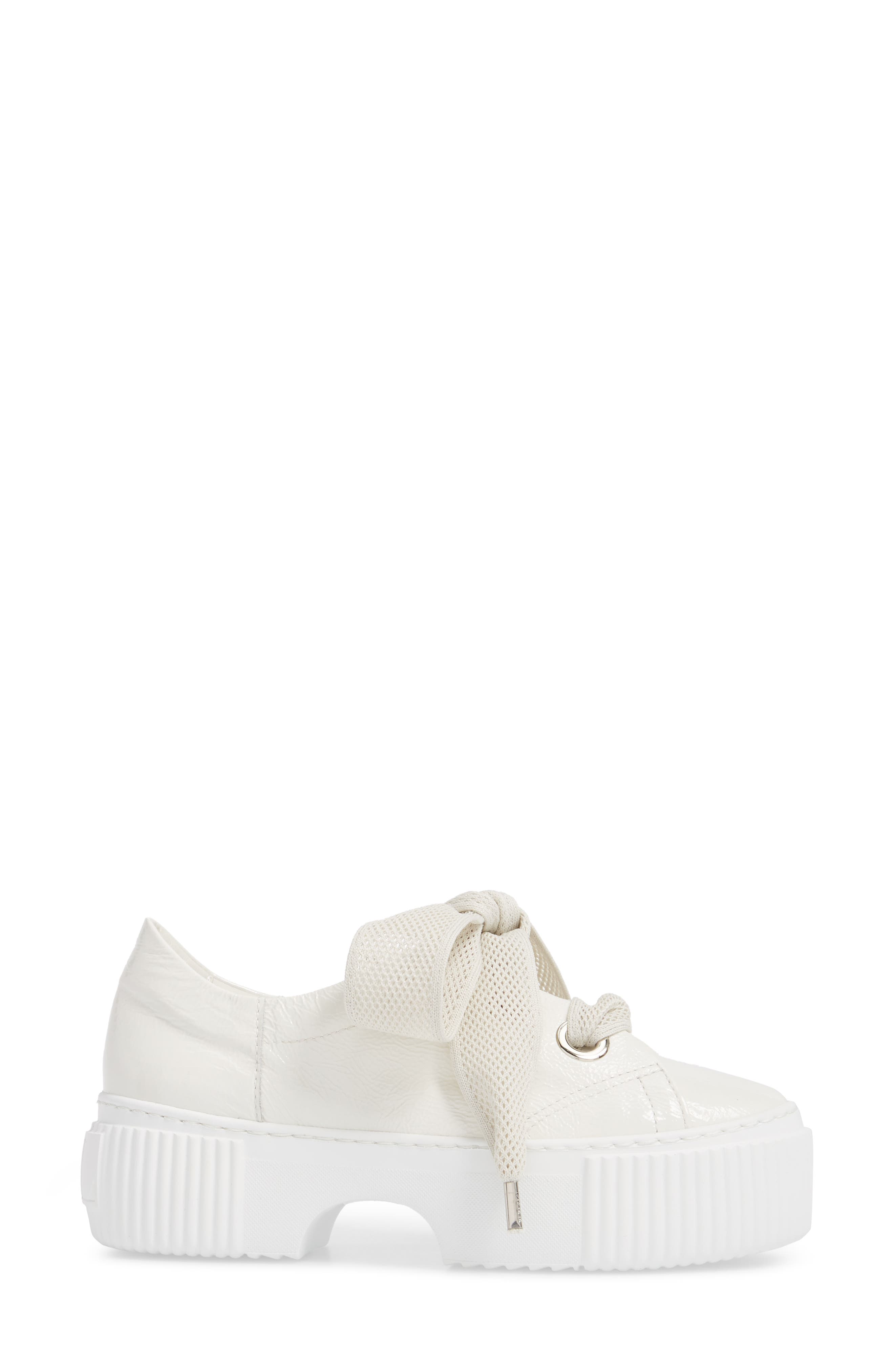 Platform Sneaker,                             Alternate thumbnail 3, color,                             WHITE GLAMMY LEATHER