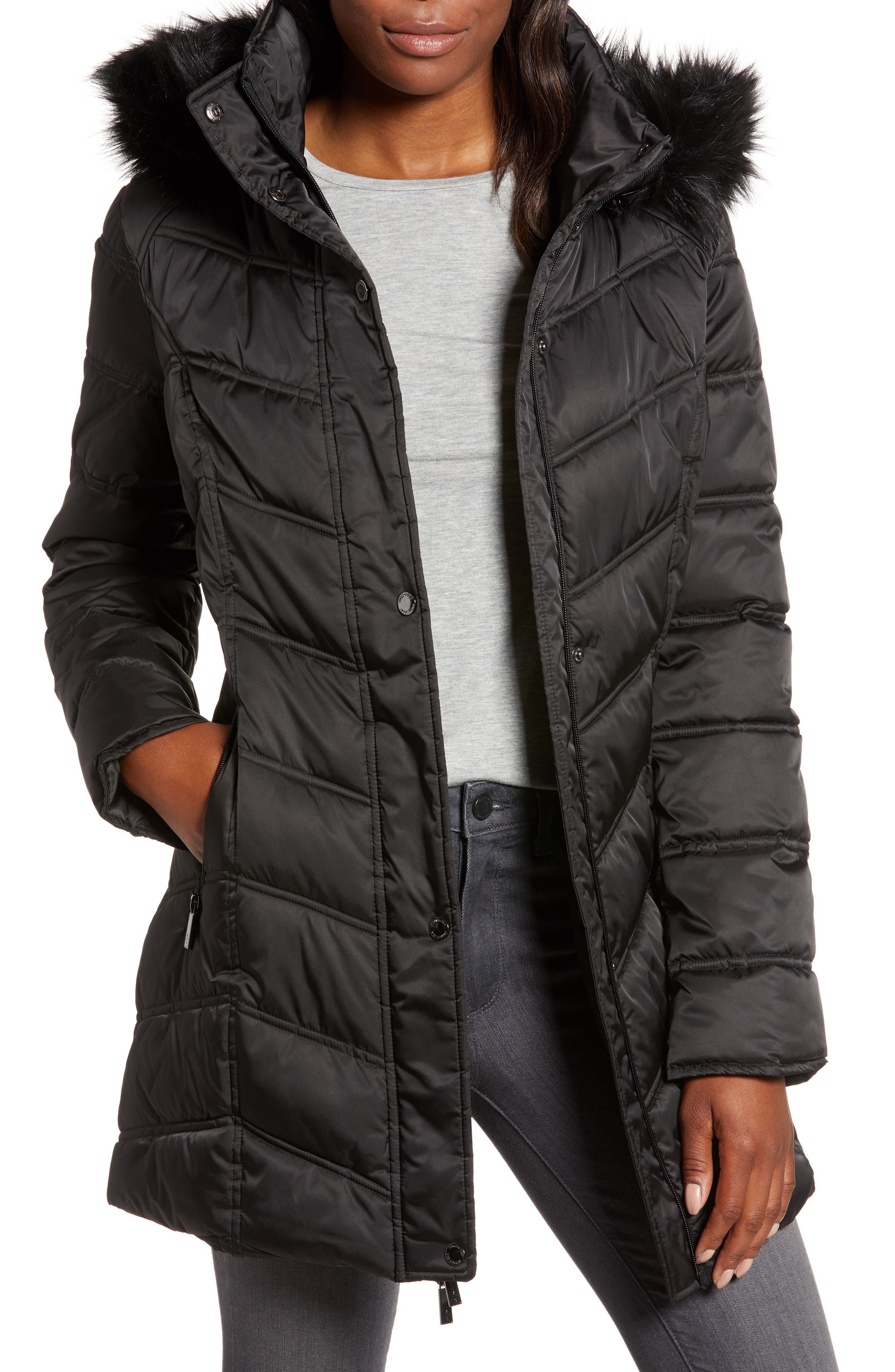 Faux Fur Trim Puffer Jacket,                             Main thumbnail 1, color,                             BLACK