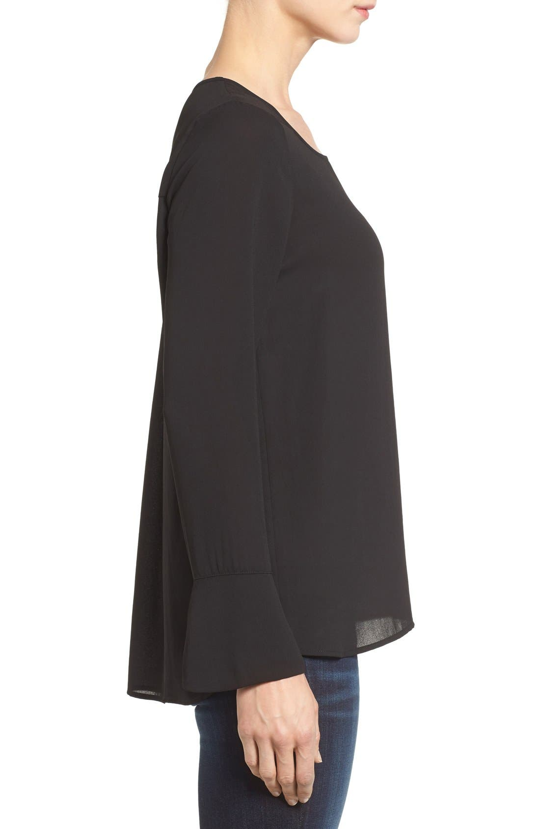 Bell Cuff High/Low Blouse,                             Alternate thumbnail 2, color,                             001