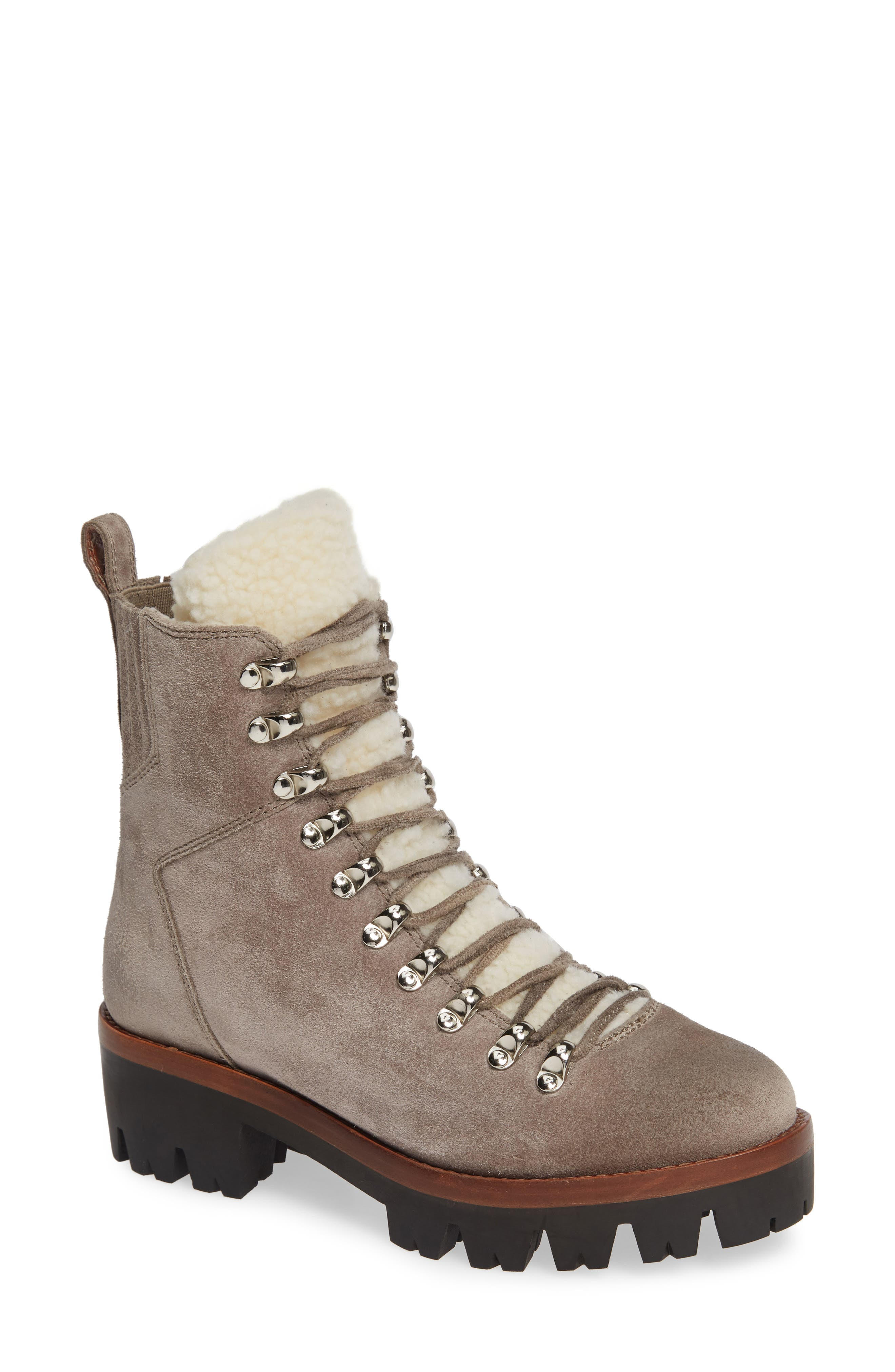 JEFFREY CAMPBELL Culvert Boot in Taupe Suede Ivory
